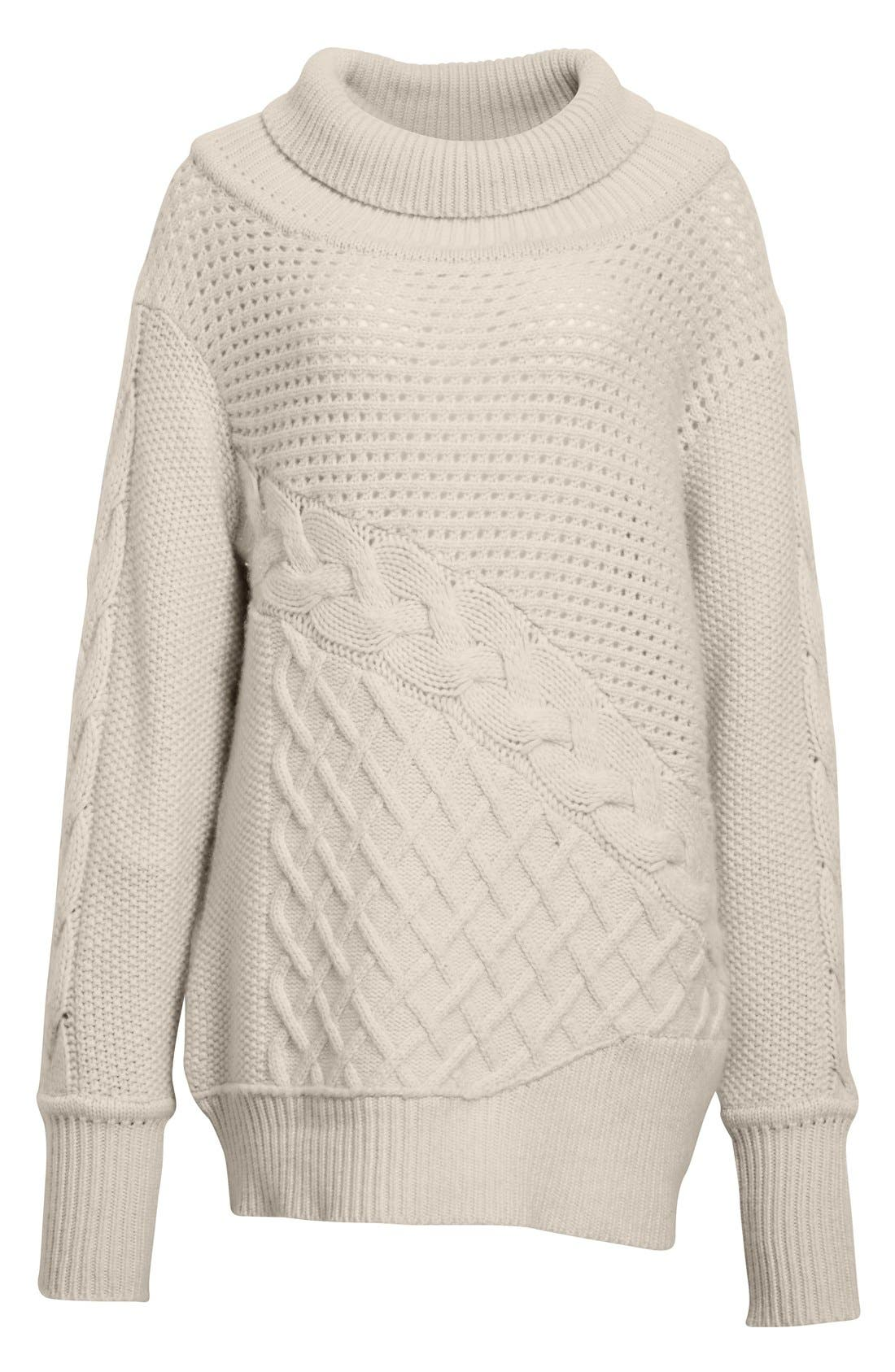 PRABAL GURUNG, Cable Knit Cashmere Sweater, Alternate thumbnail 5, color, 904