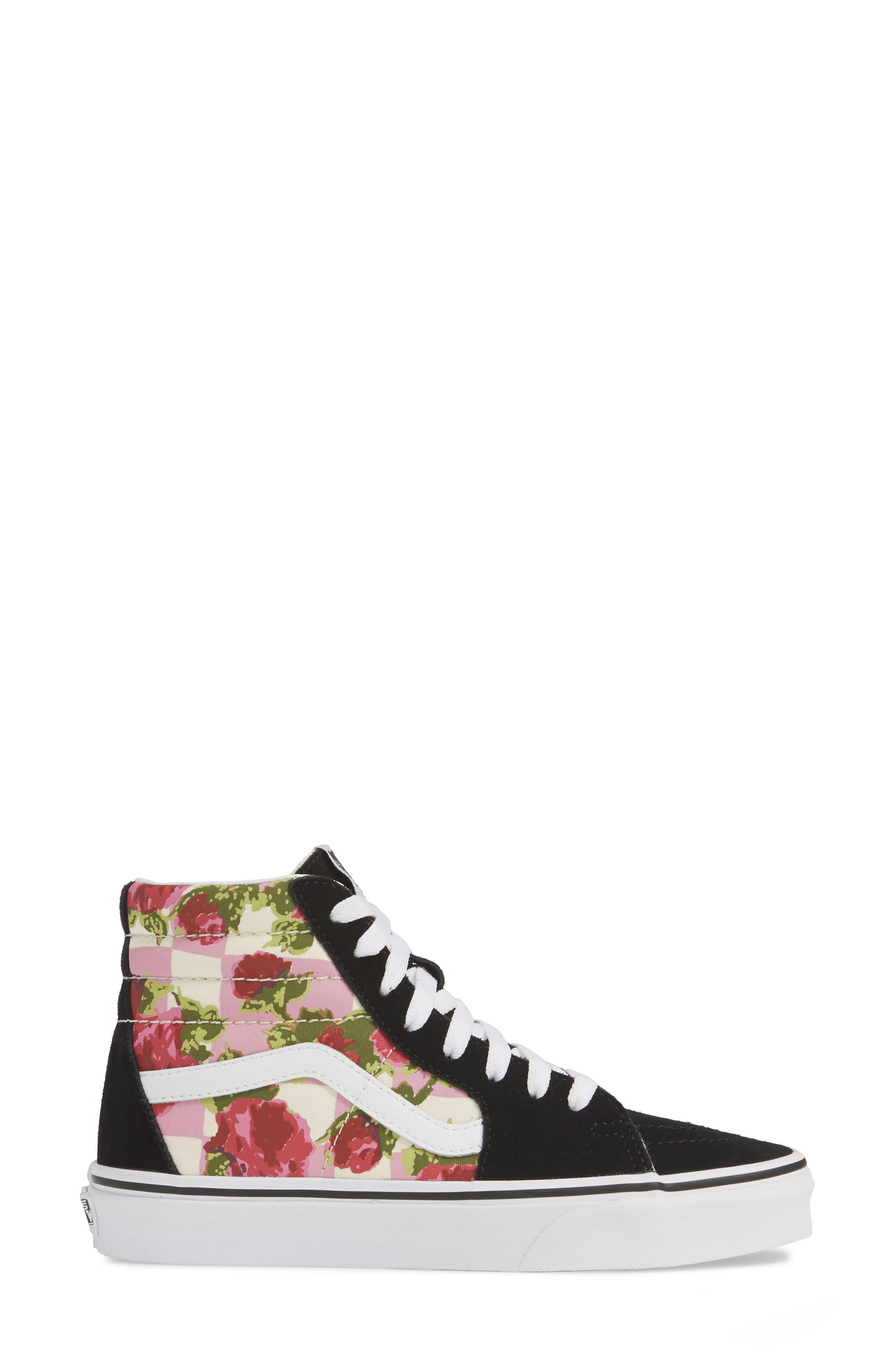 VANS, Sk8-Hi Floral Sneaker, Alternate thumbnail 3, color, FLORAL MULTI/ TRUE WHITE