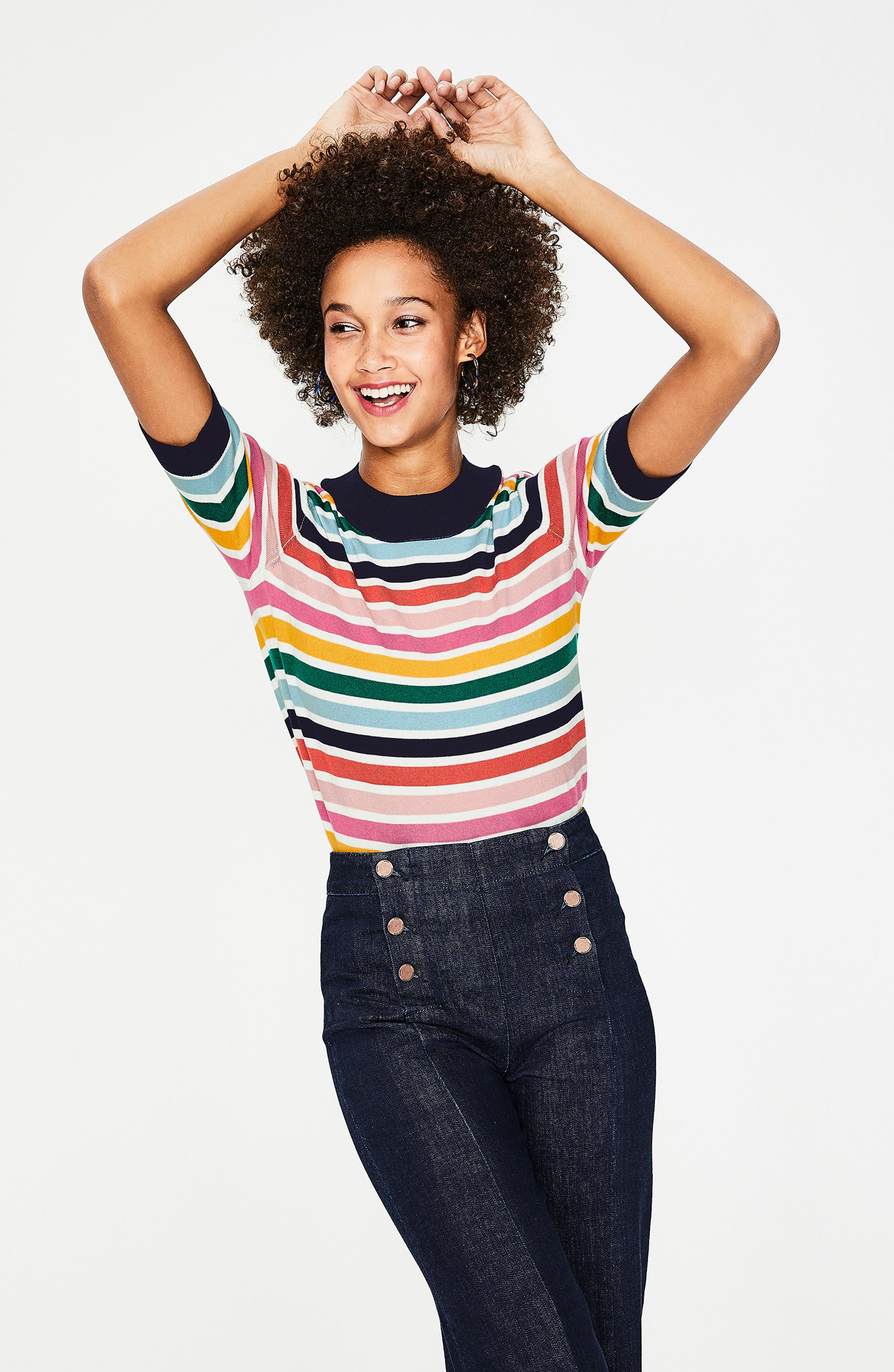 BODEN, Multicolor Knit Tee, Alternate thumbnail 6, color, MULTI STRIPE