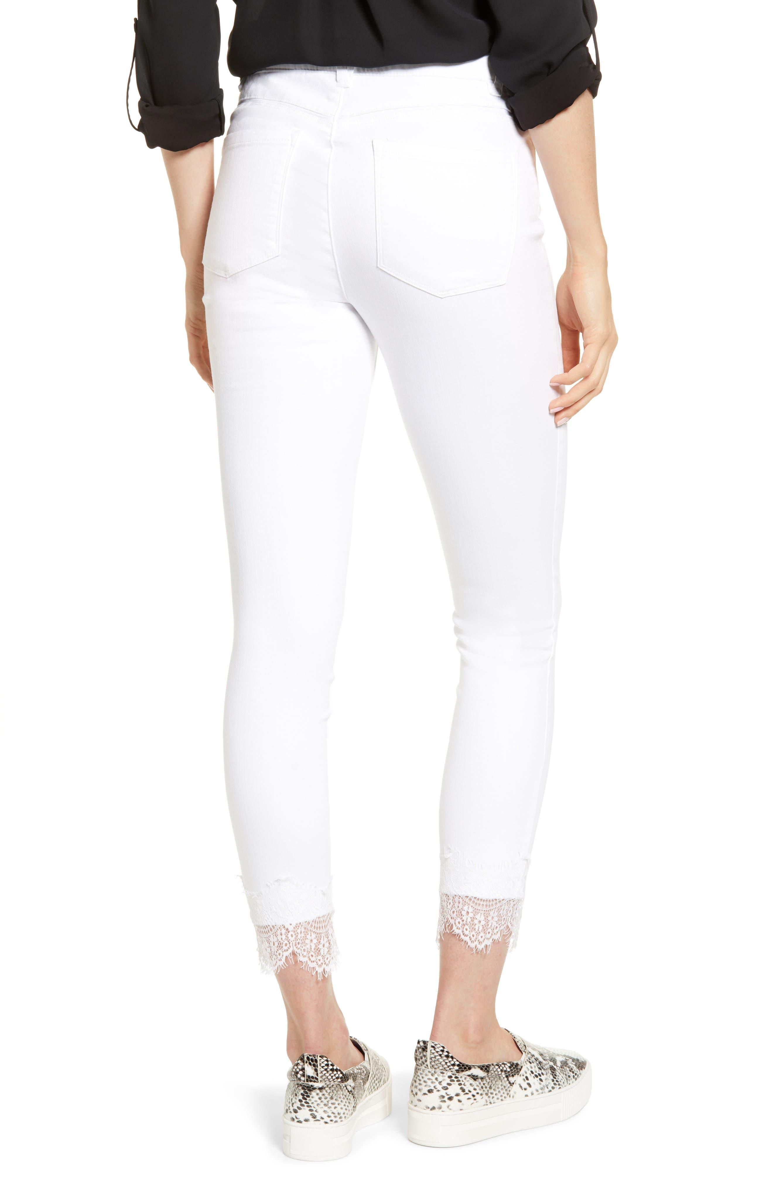 WIT & WISDOM, Ab-Solution Lace Hem High Waist Jeans, Alternate thumbnail 2, color, OPTIC WHITE