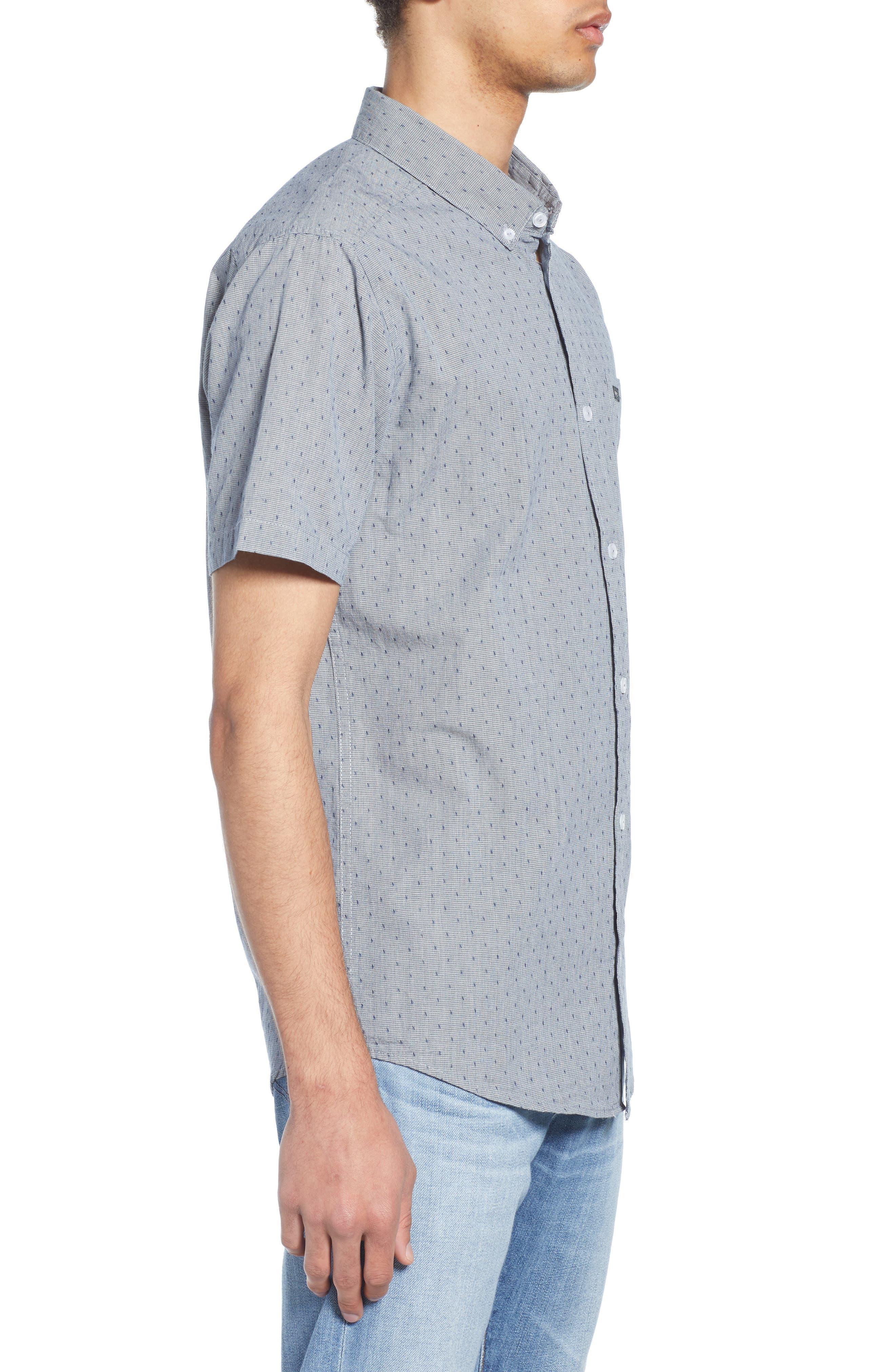 RVCA, That'll Do Dobby Short Sleeve Sport Shirt, Alternate thumbnail 4, color, SEATTLE BLUE