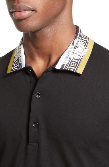 1a5294ecc15a Versace Collection Frame Print Collar Polo | Nordstrom