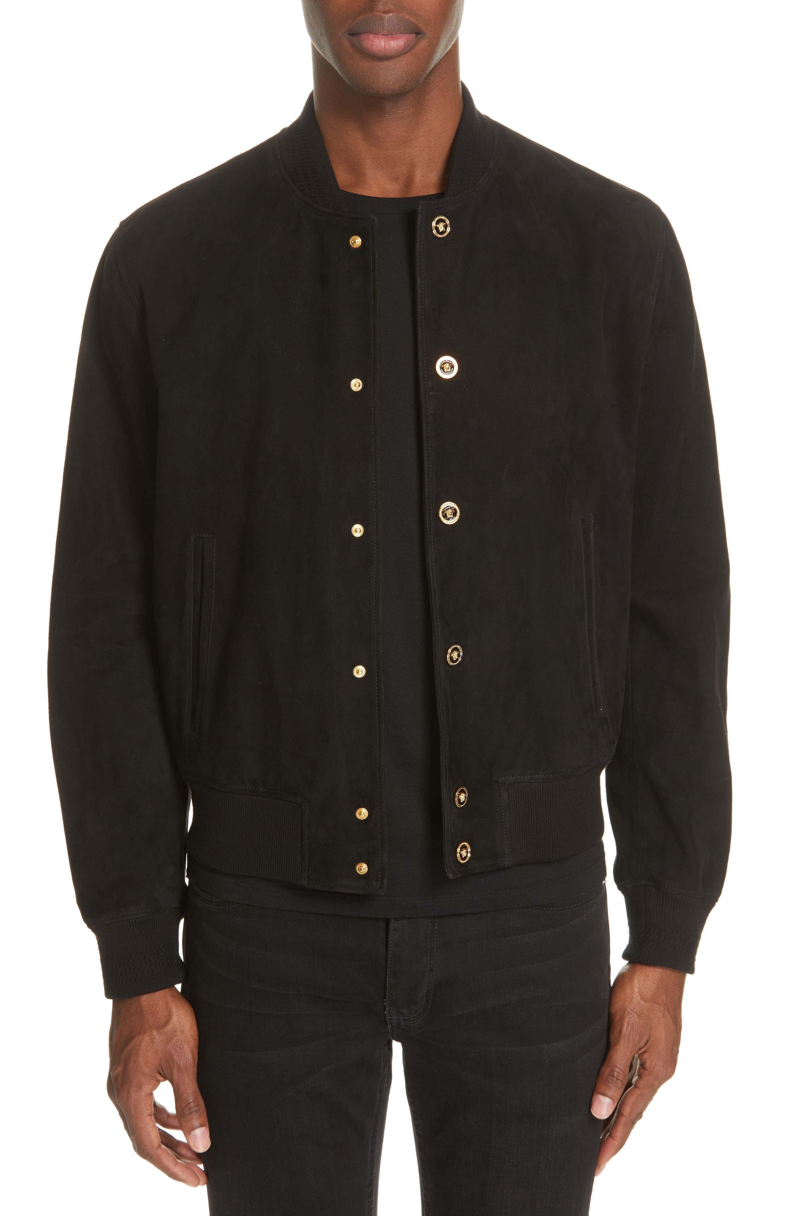 VERSACE Suede Bomber Jacket, Main, color, BLACK