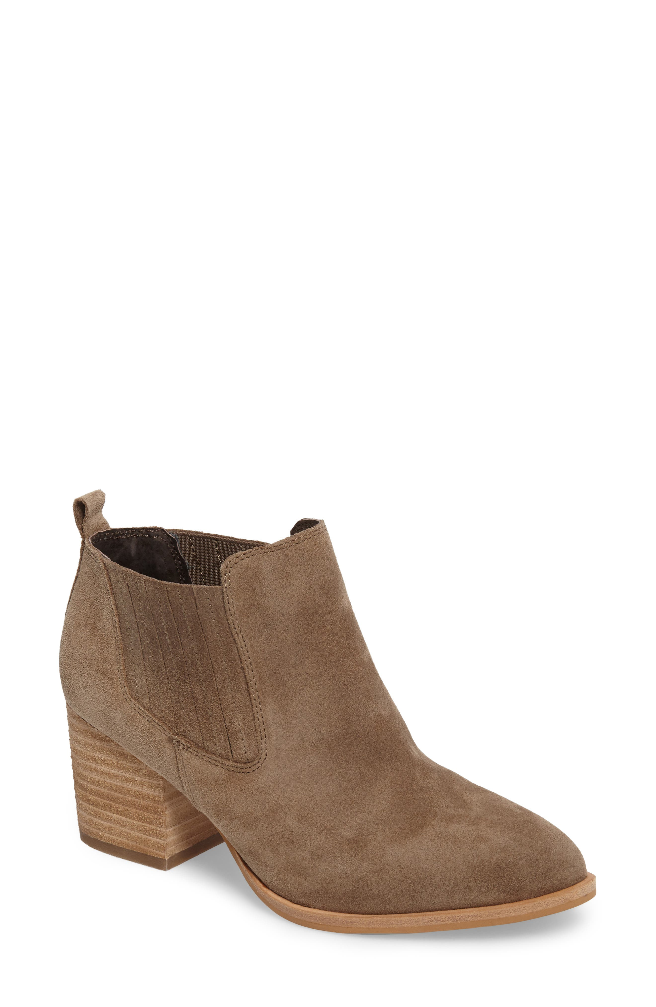 ISOLÁ, Olicia Gored Bootie, Main thumbnail 1, color, MARMOTTA LIGHT GREY SUEDE