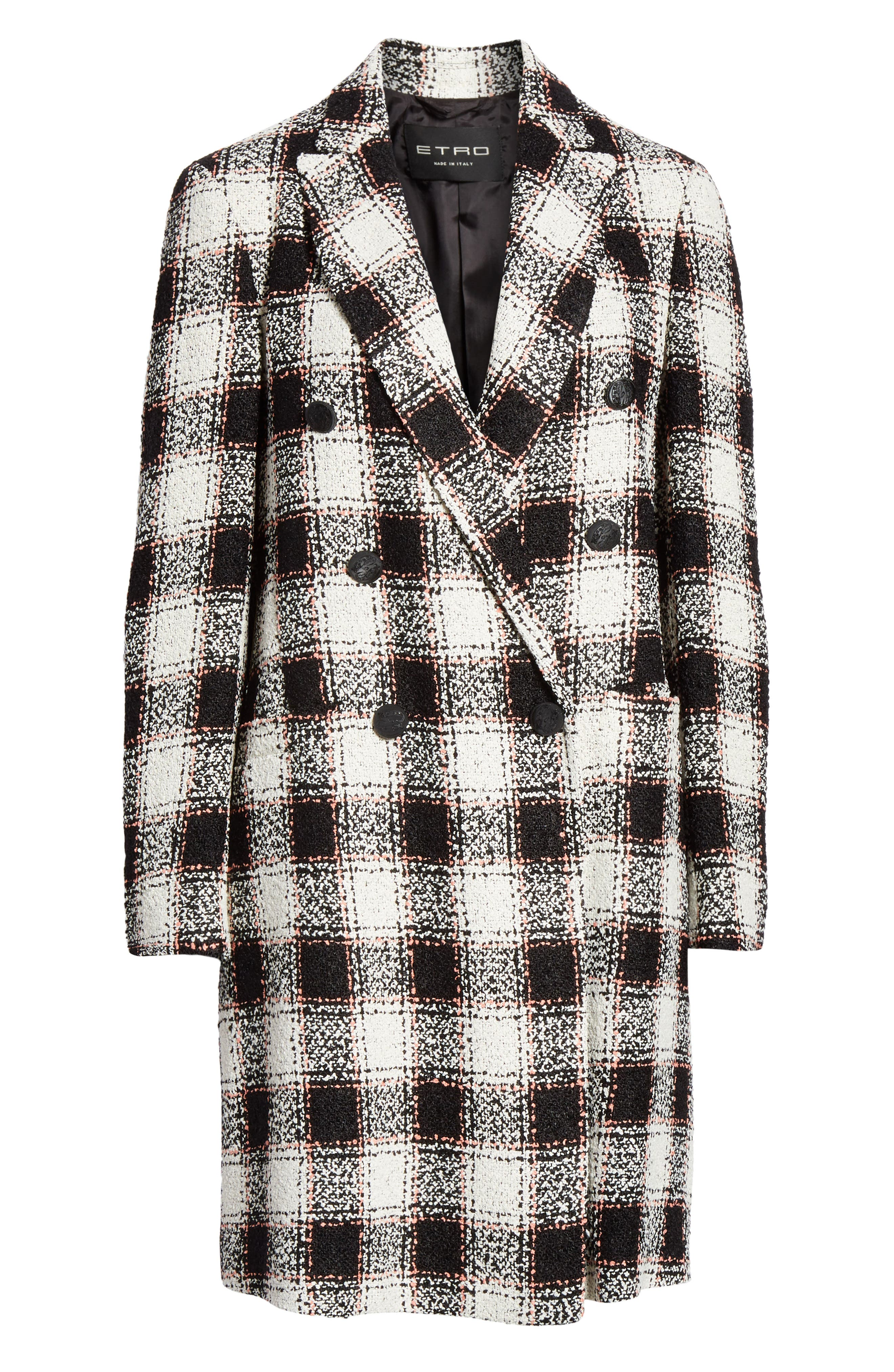ETRO, Double Breasted Checked Tweed Jacket, Alternate thumbnail 5, color, WHITE