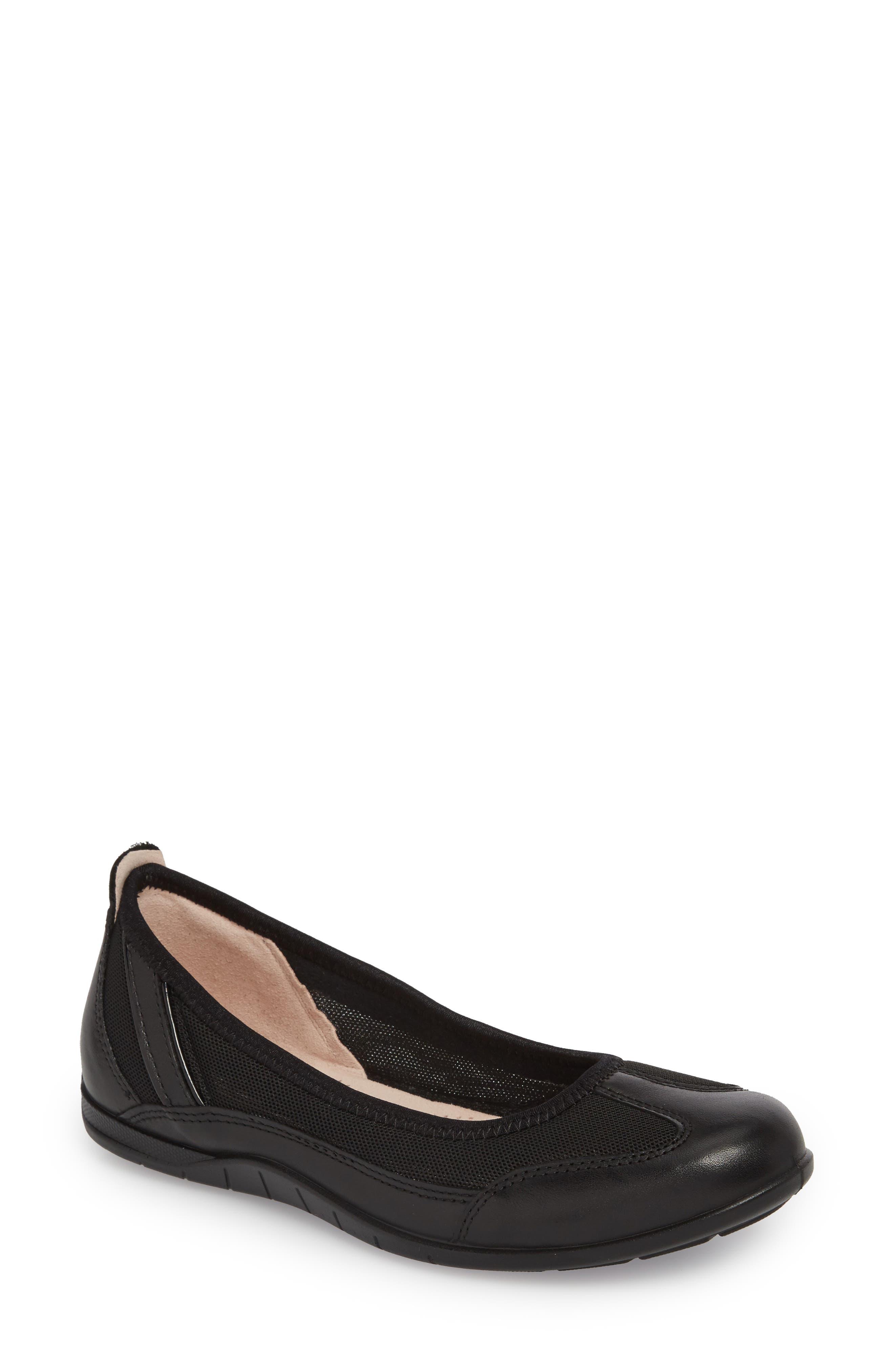 ECCO, 'Bluma' Ballet Sneaker, Main thumbnail 1, color, BLACK LEATHER