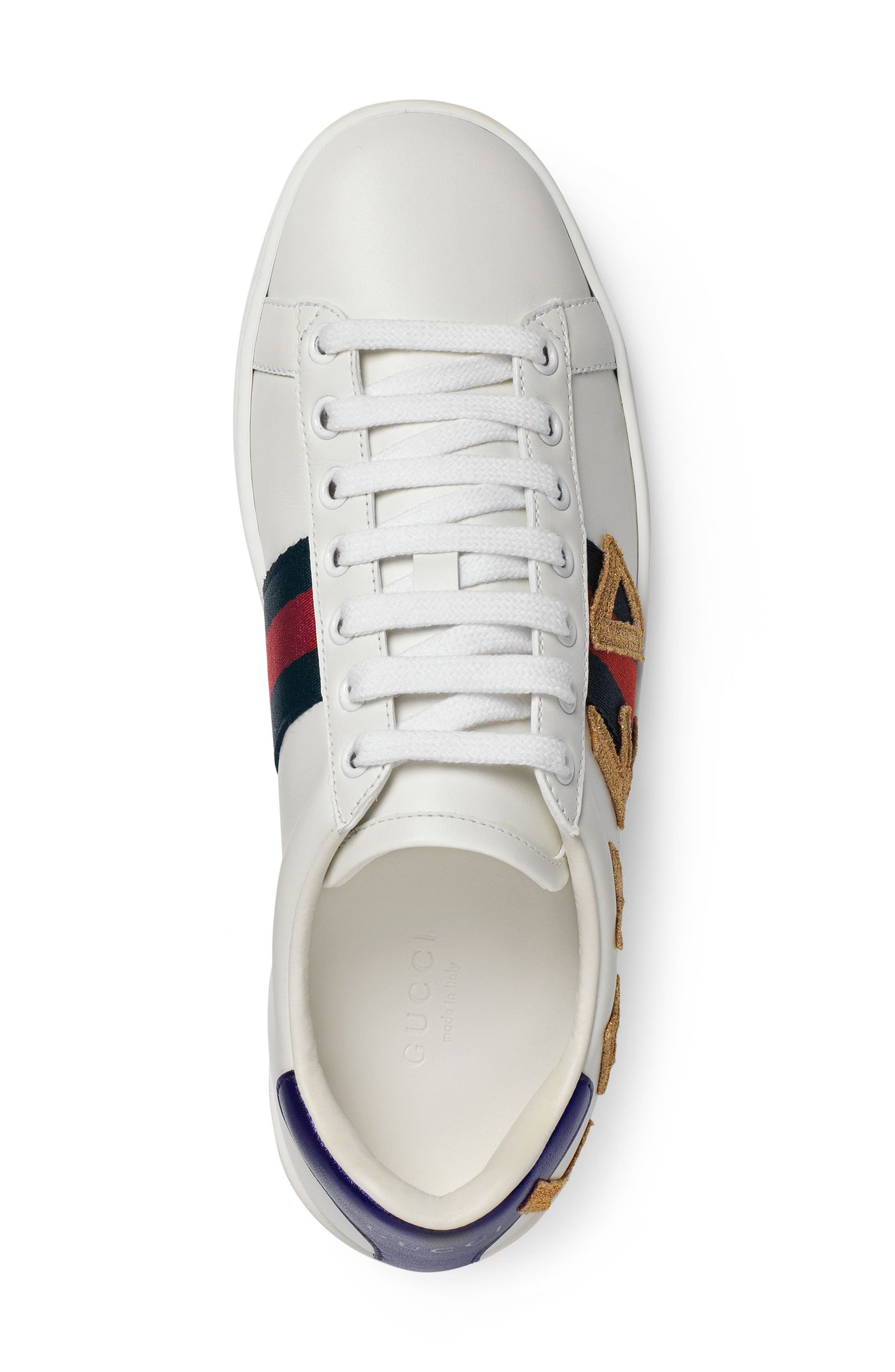 GUCCI, New Ace Loved Sneakers, Alternate thumbnail 4, color, WHITE