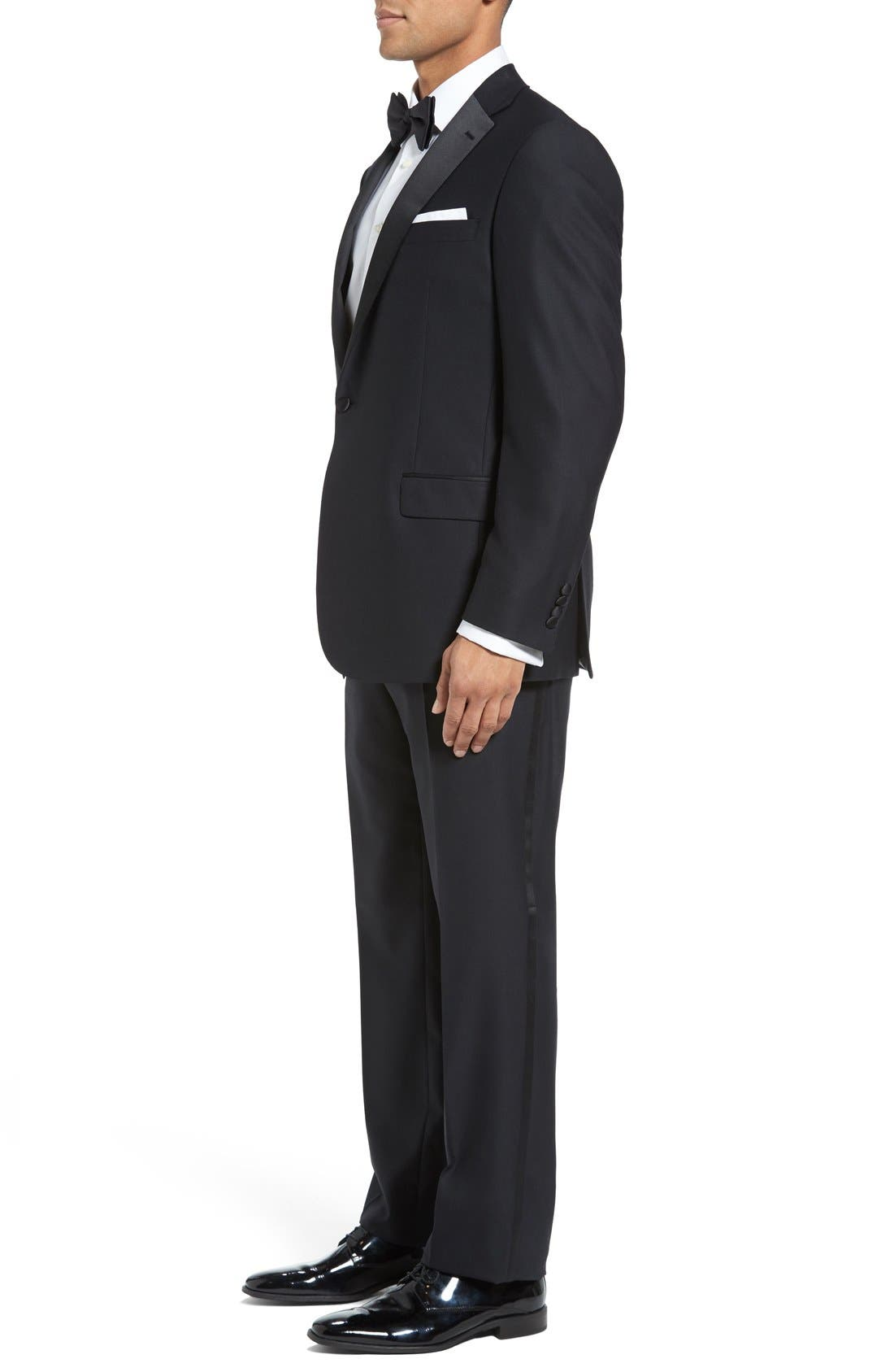 HART SCHAFFNER MARX, New York Classic Fit Black Wool Tuxedo, Alternate thumbnail 3, color, BLACK