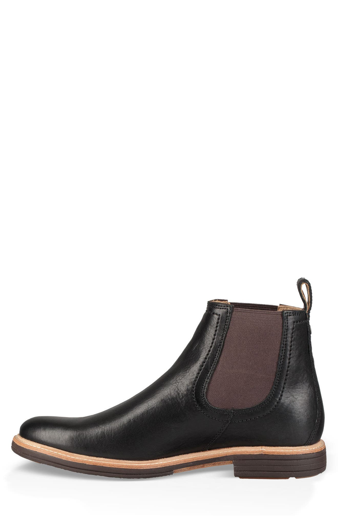 UGG<SUP>®</SUP>, Baldvin Chelsea Boot, Alternate thumbnail 3, color, BLACK LEATHER/SUEDE