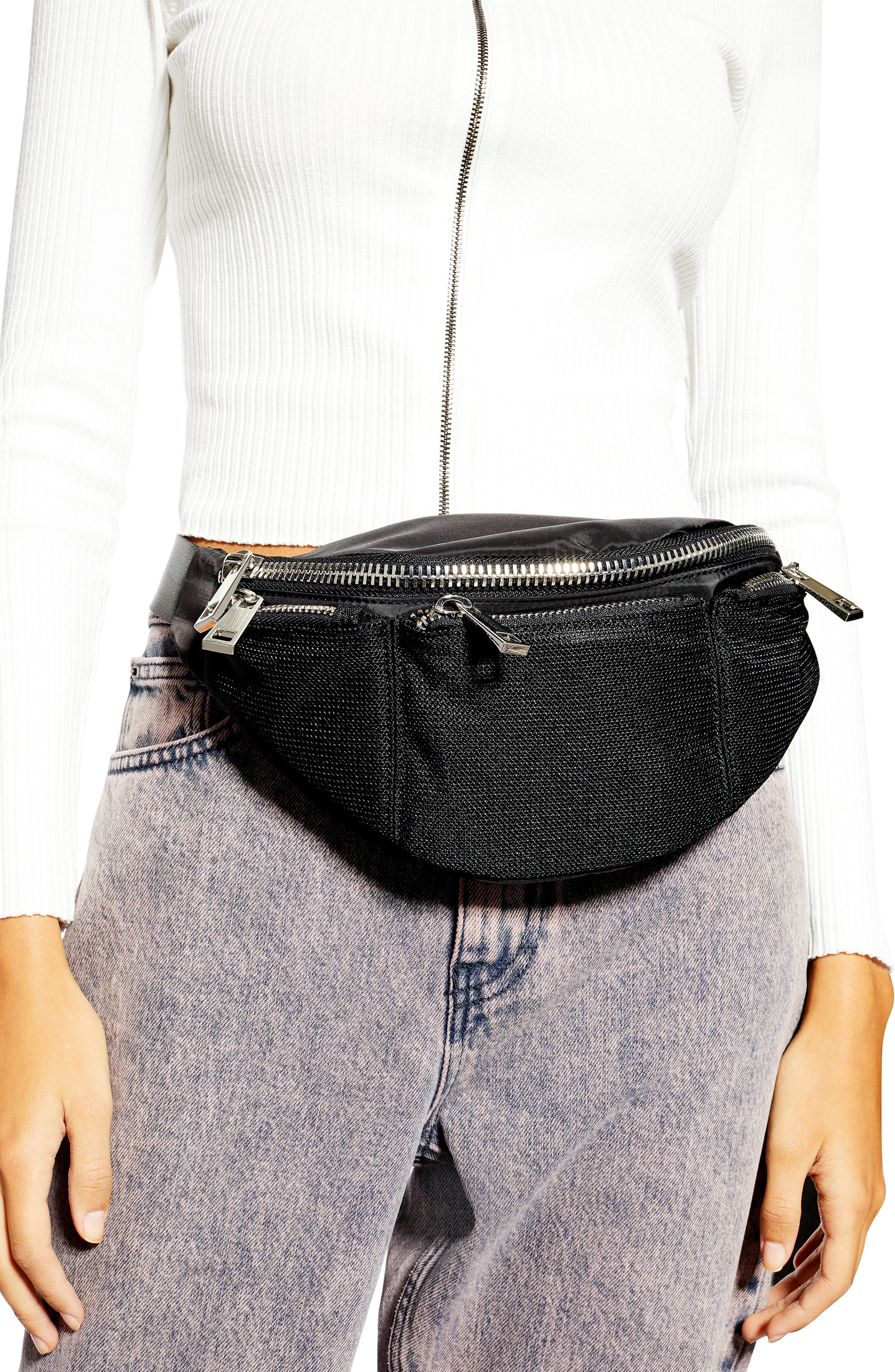 TOPSHOP, Warsaw Nylon Belt Bag, Alternate thumbnail 2, color, BLACK