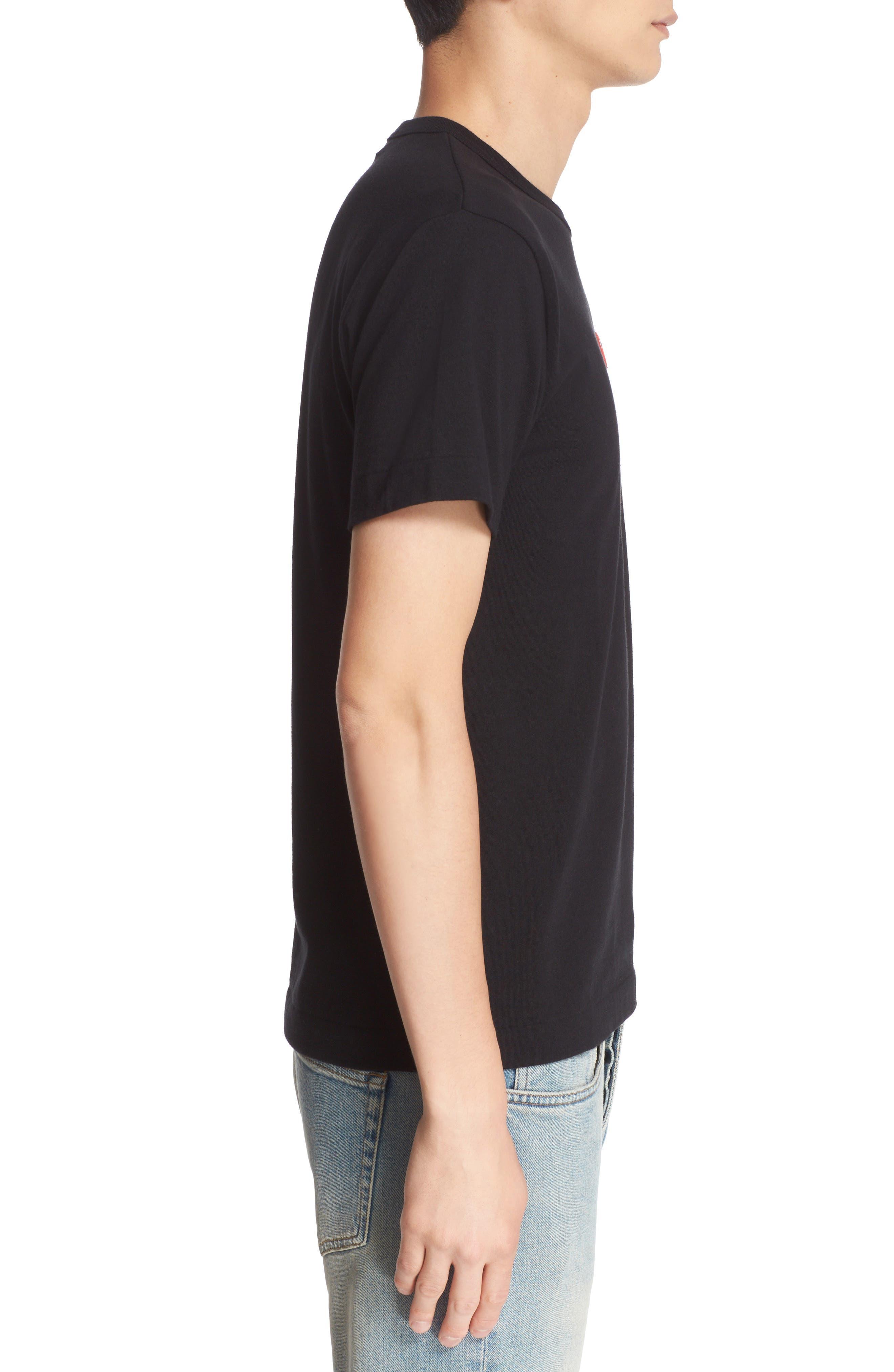 COMME DES GARÇONS PLAY, Twin Hearts Jersey T-Shirt, Alternate thumbnail 3, color, BLACK