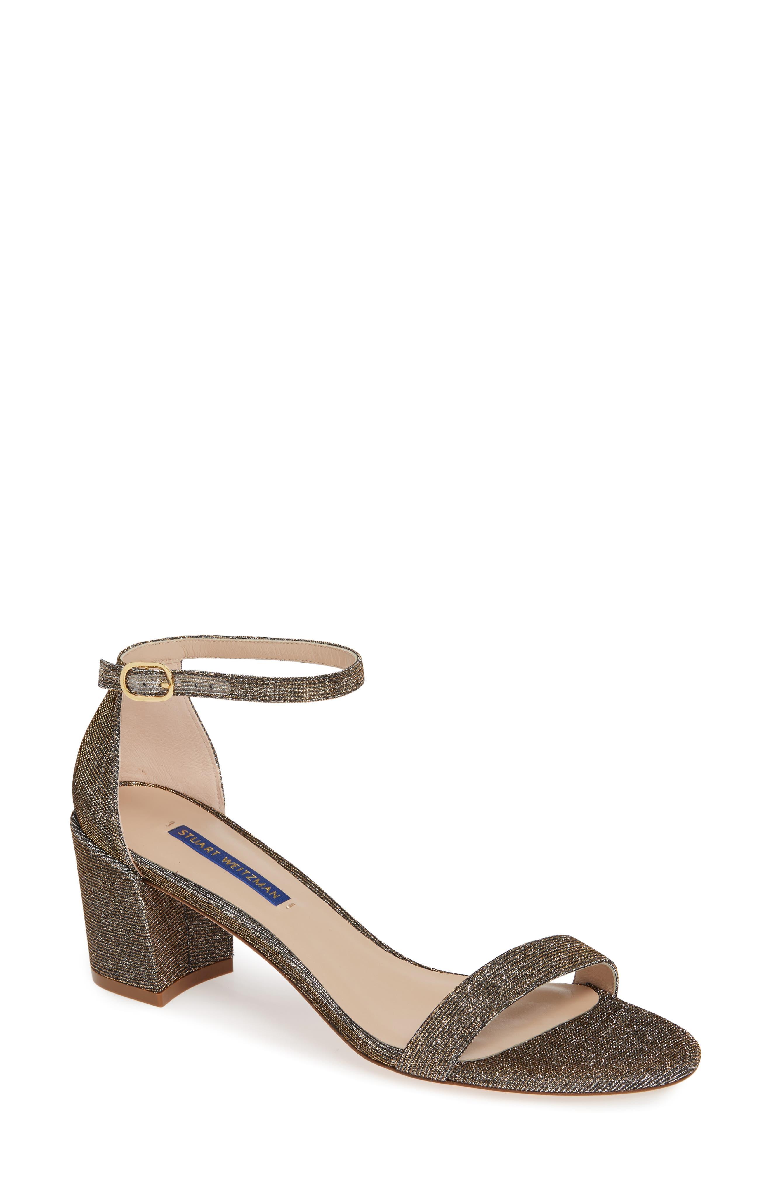 STUART WEITZMAN, Simple Ankle Strap Sandal, Main thumbnail 1, color, GOLD NIGHTTIME