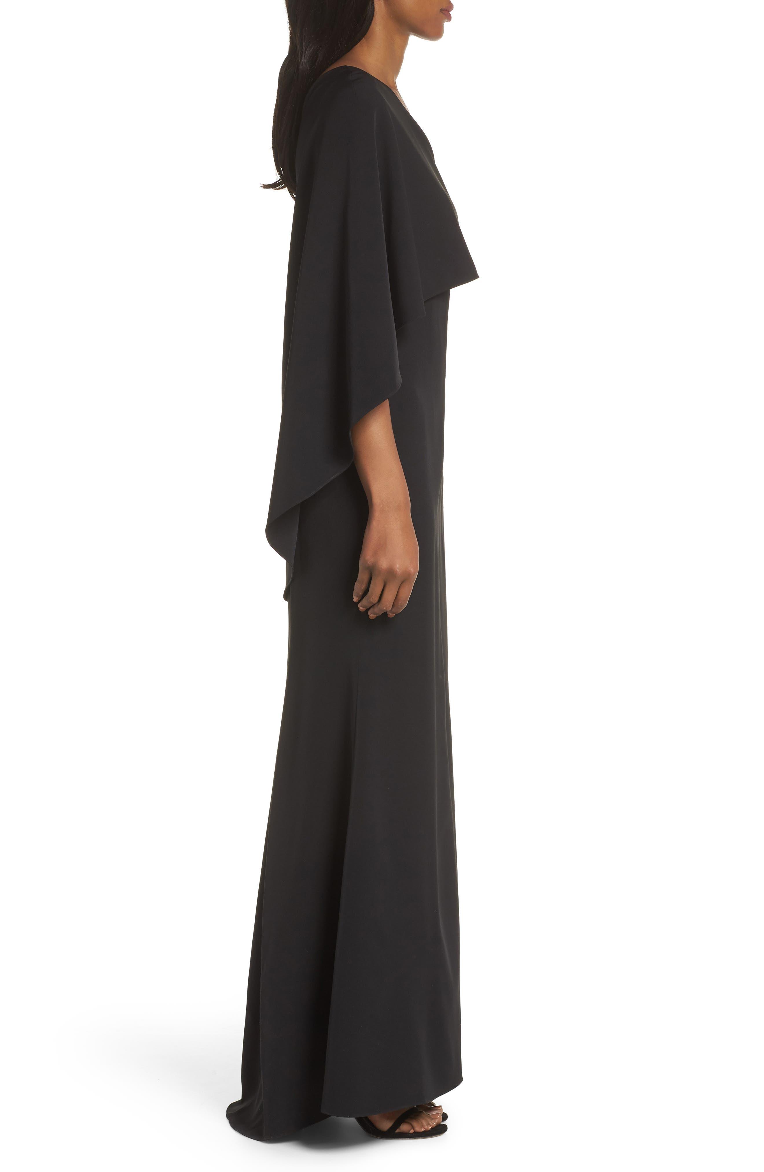 VINCE CAMUTO, One-Shoulder Cape Evening Dress, Alternate thumbnail 4, color, BLACK