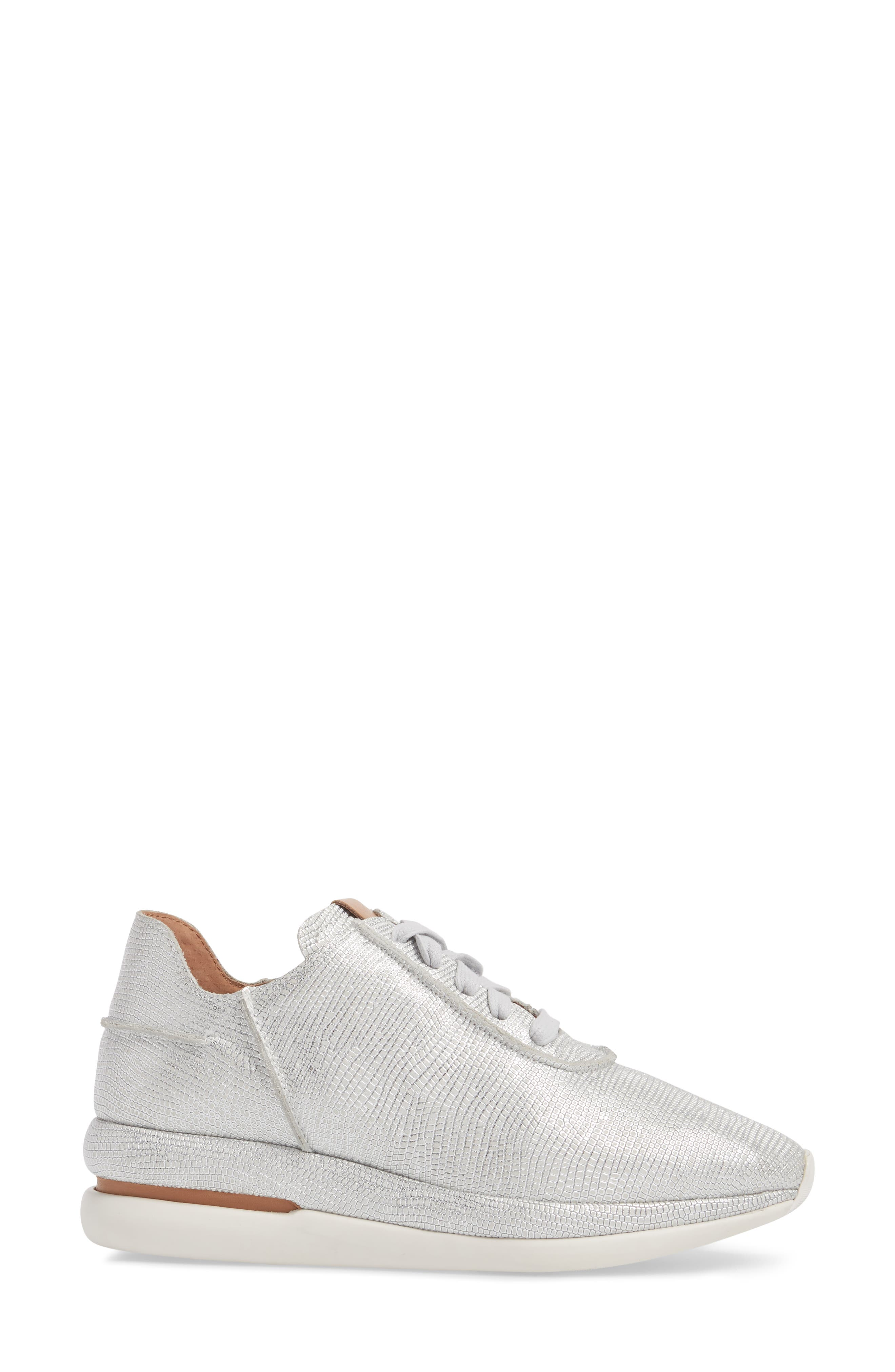 GENTLE SOULS BY KENNETH COLE, Raina Sneaker, Alternate thumbnail 3, color, WHITE/ SILVER LEATHER