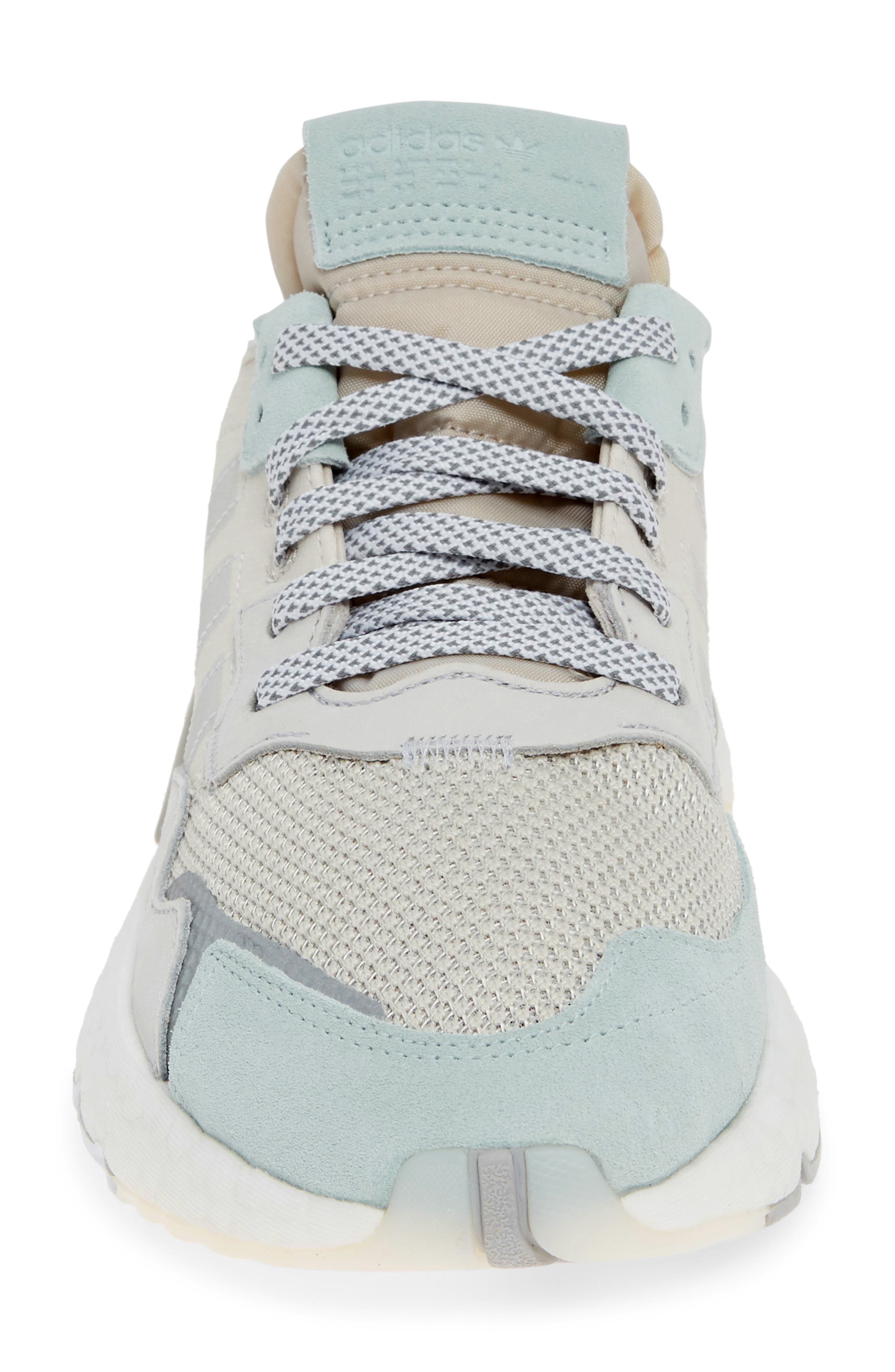 ADIDAS, Nite Jogger Sneaker, Alternate thumbnail 4, color, RAW WHITE/ GREY/ VAPOR GREEN