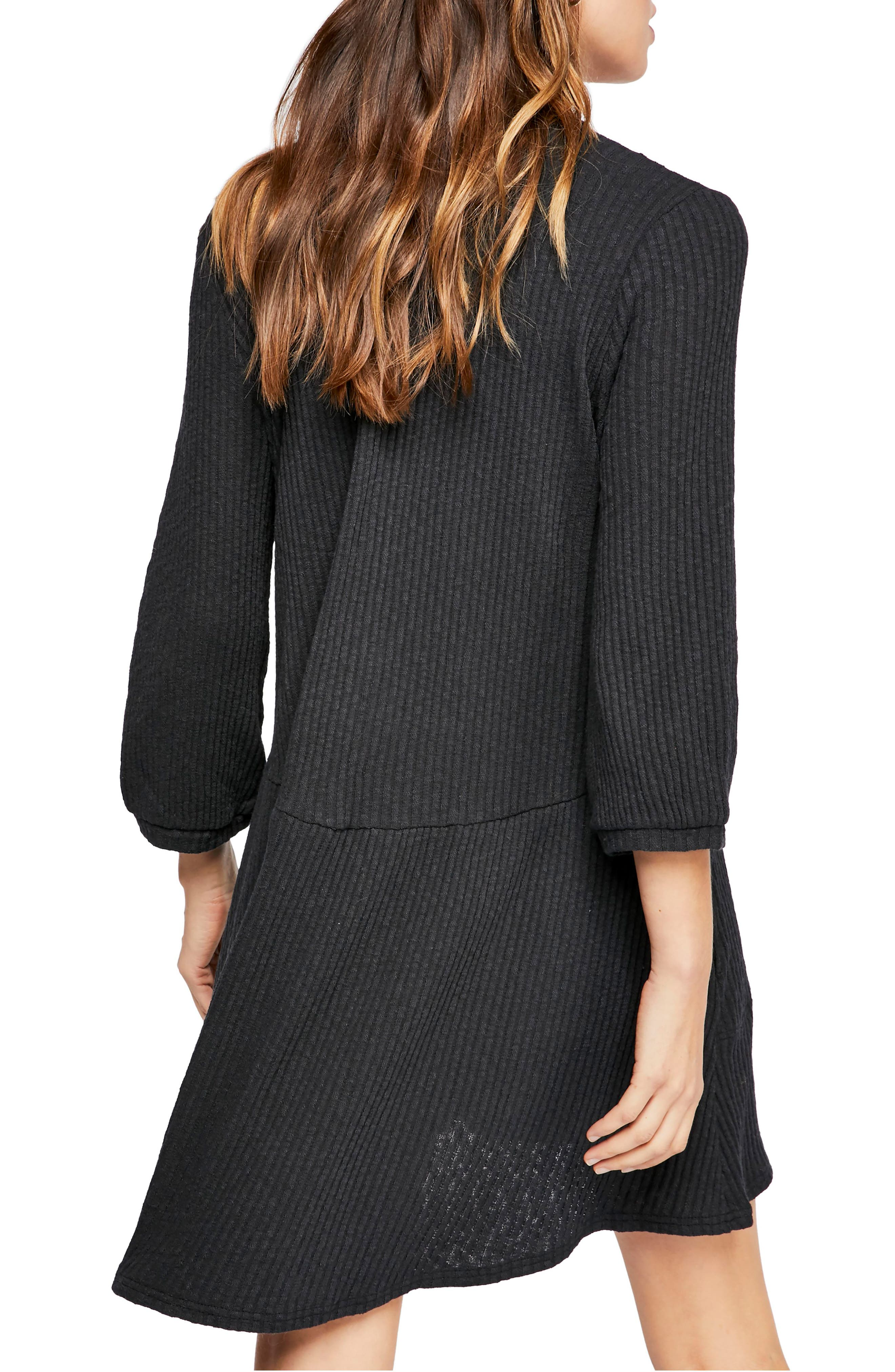 FREE PEOPLE, Endless Summer by Free People Blossom Stretch Cotton Dress, Alternate thumbnail 2, color, BLACK