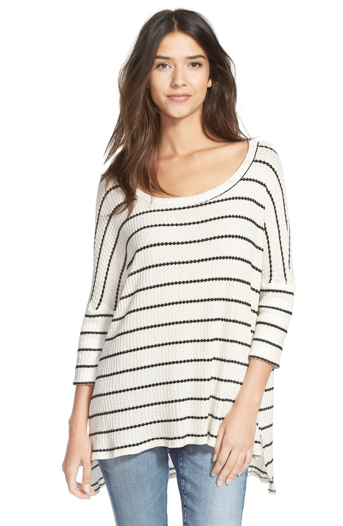 CHASER Stripe Thermal Sweater, Main, color, 001