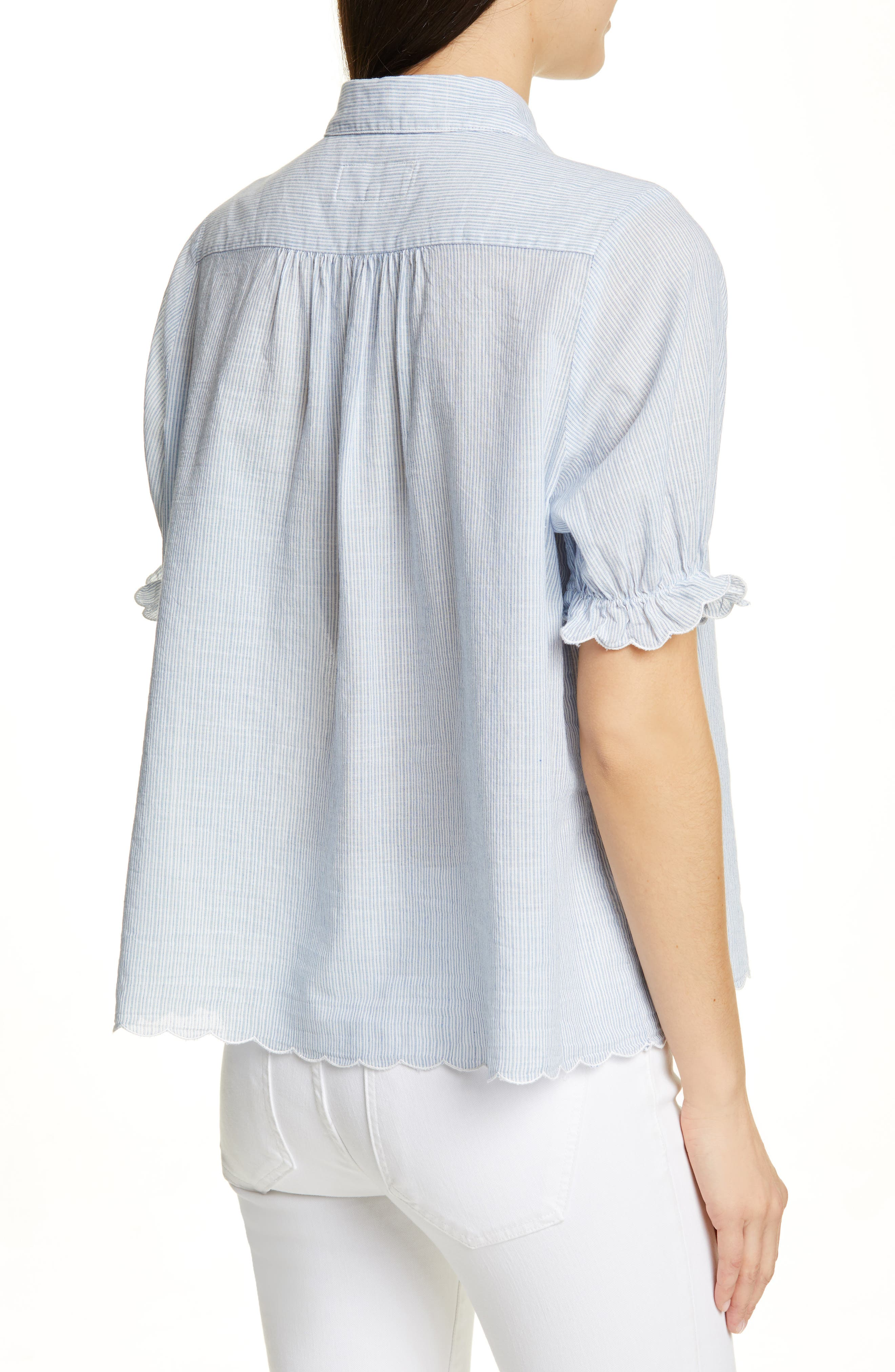 THE GREAT., The Kerchief Embroidered Cotton Top, Alternate thumbnail 2, color, CAROLINA STRIPE