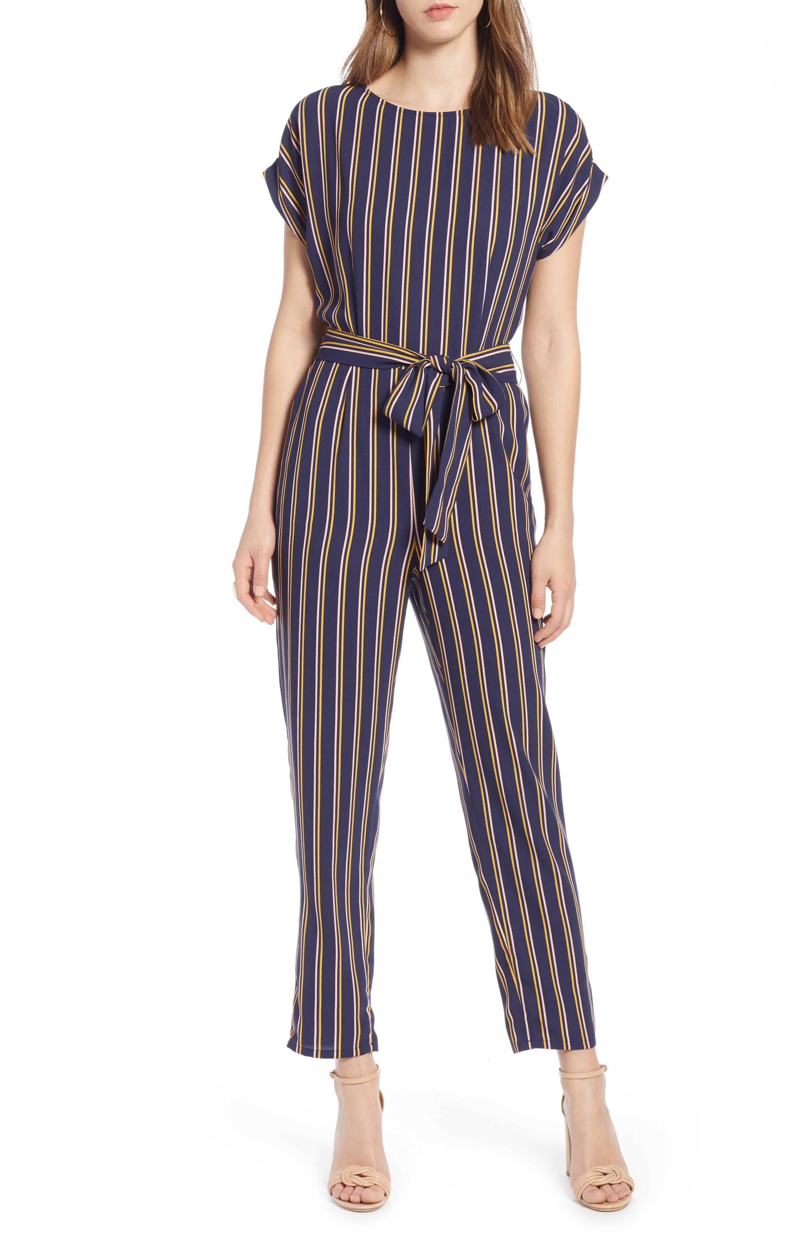Petite Halogen Short Sleeve Jumpsuit, Blue