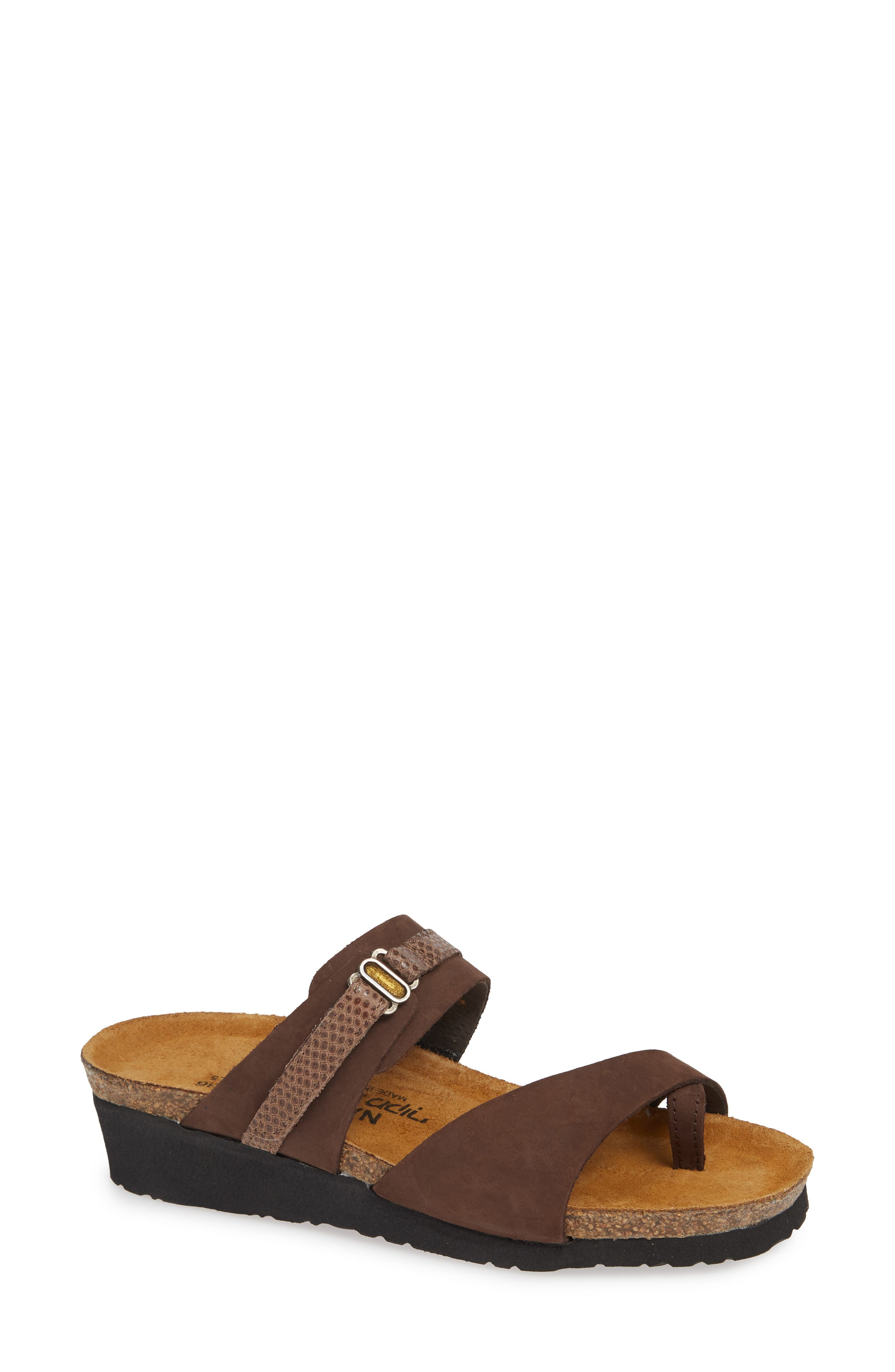 NAOT Jessica Sandal, Main, color, COFFEE BEAN NUBUCK LEATHER