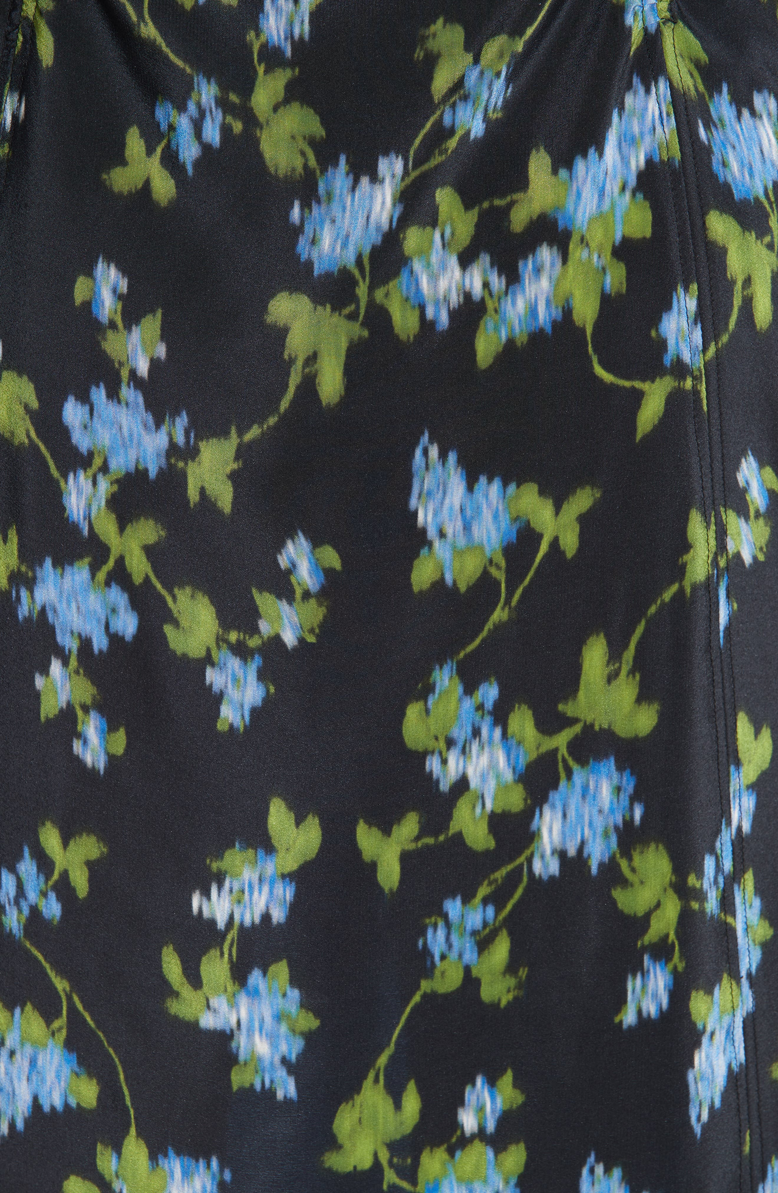 ALTUZARRA, Floral Print Silk Dress, Alternate thumbnail 6, color, BLACK