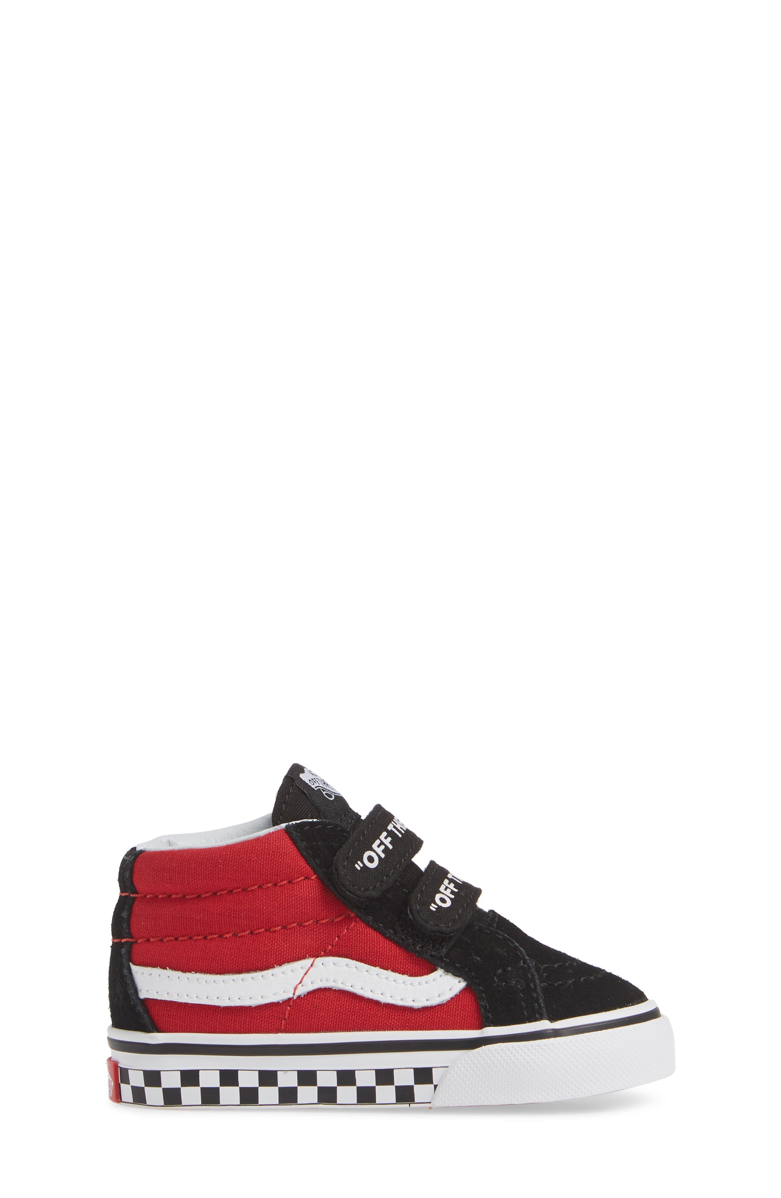 VANS, 'Sk8-Mid Reissue' Sneaker, Alternate thumbnail 3, color, BLACK/ RED / WHITE