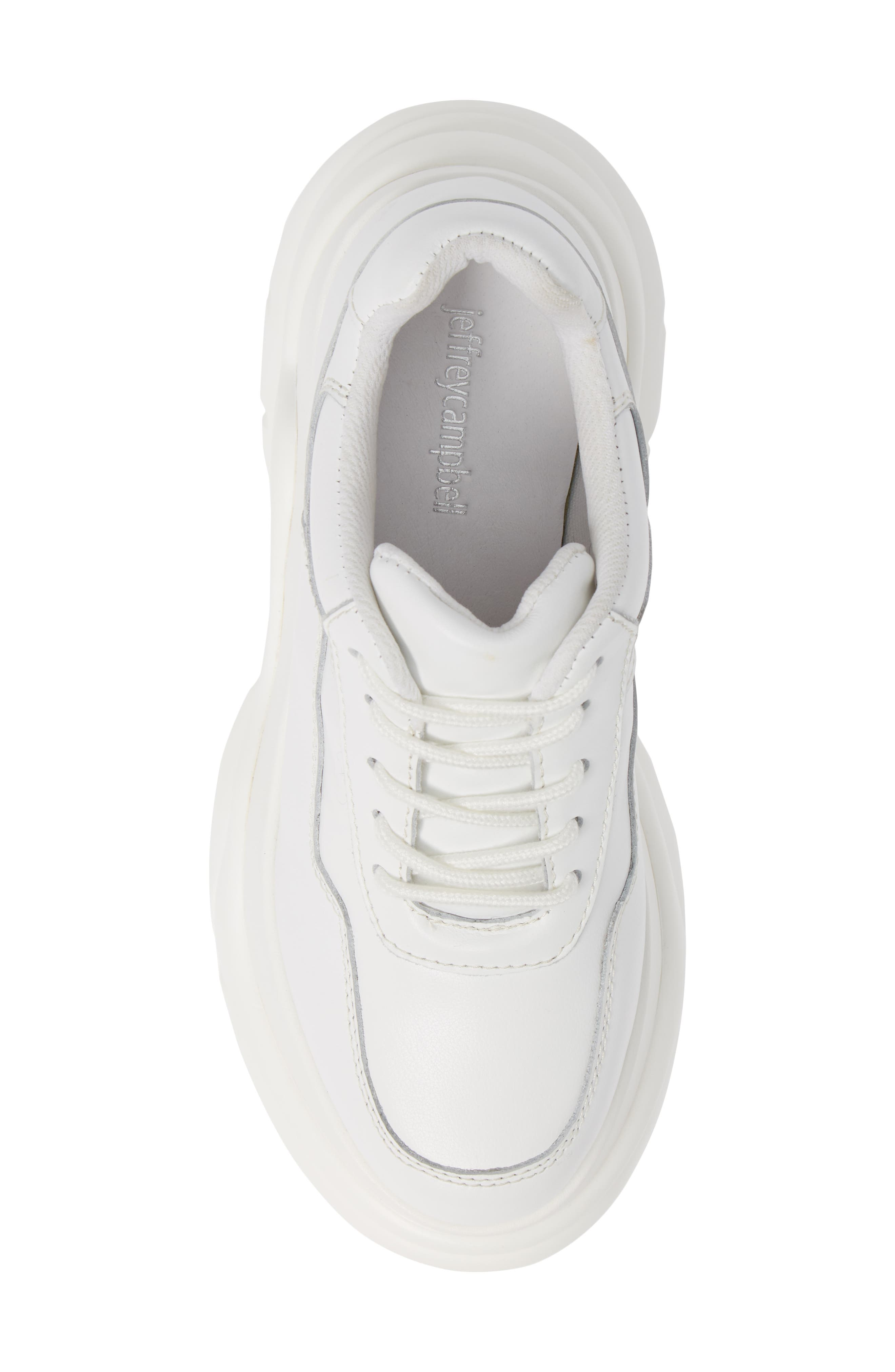 JEFFREY CAMPBELL, Most Def Wedge Sneaker, Alternate thumbnail 5, color, WHITE/ WHITE LEATHER