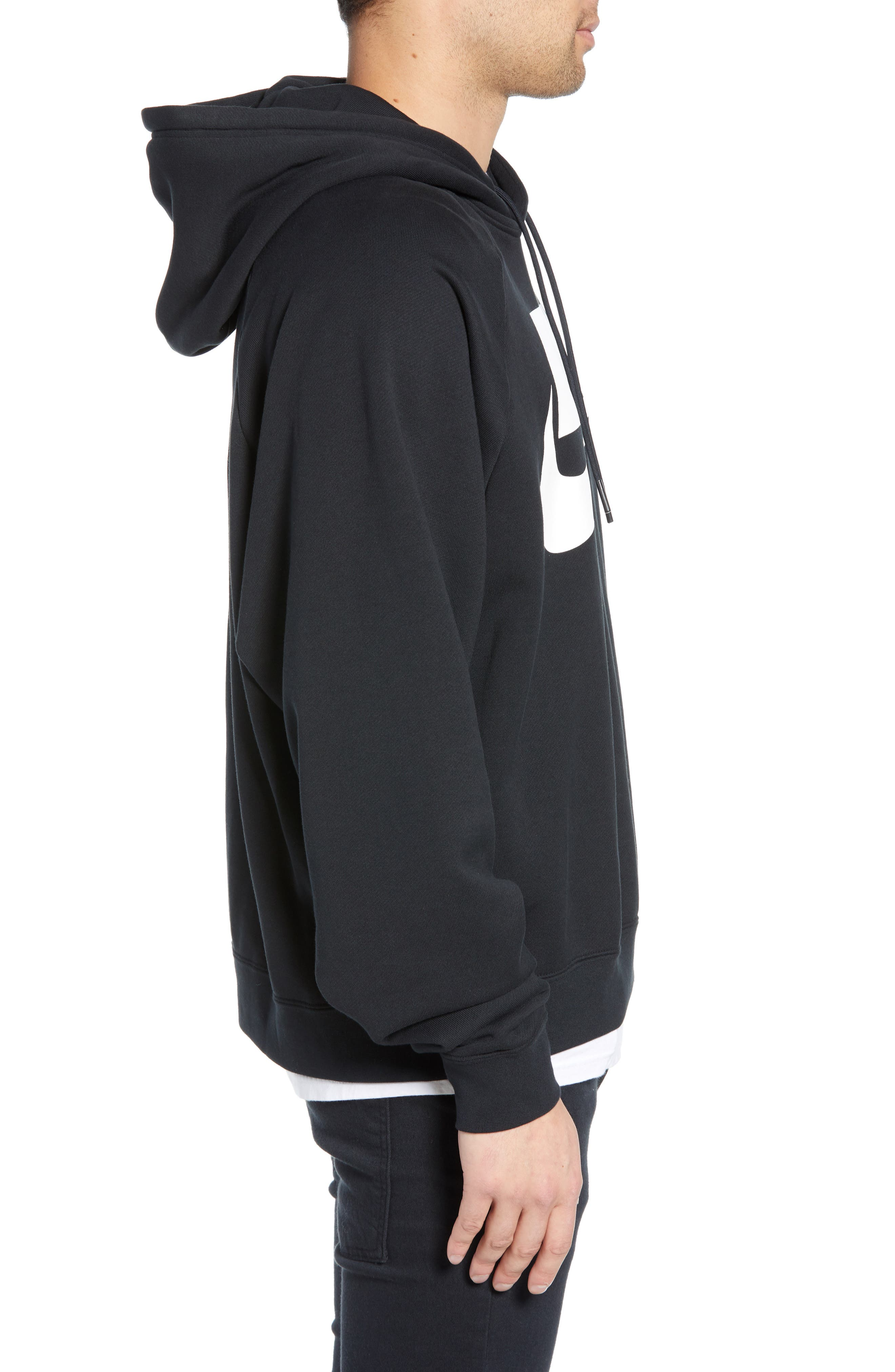 NIKE, Sportswear NSW Men's French Terry Hoodie, Alternate thumbnail 3, color, BLACK/ WHITE