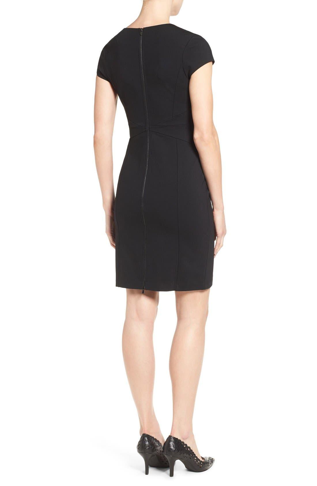 HALOGEN<SUP>®</SUP>, Seamed V-Neck Ponte Sheath Dress, Alternate thumbnail 5, color, 001