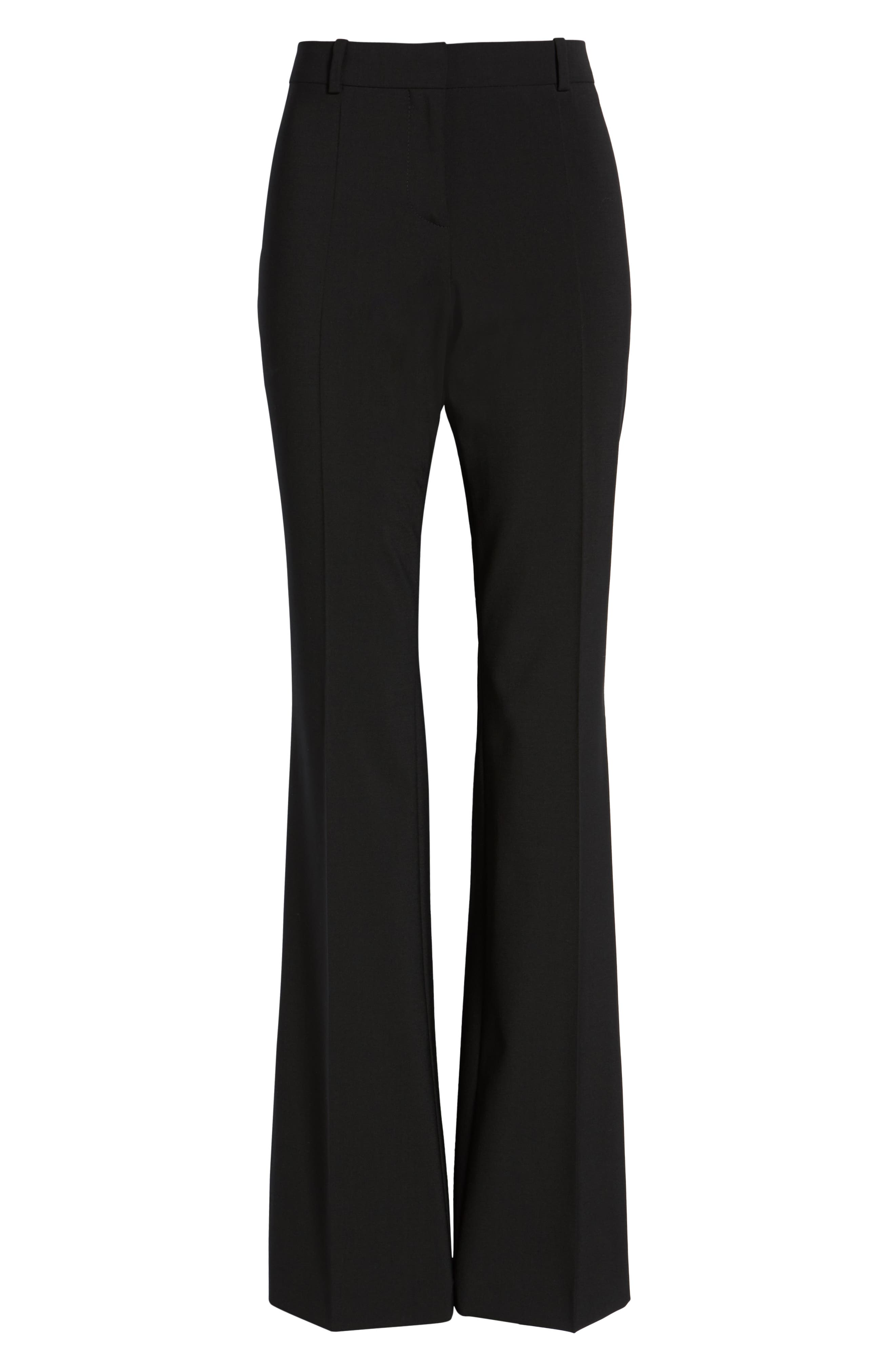BOSS, Tulea3 Tropical Stretch Wool Trousers, Alternate thumbnail 2, color, BLACK