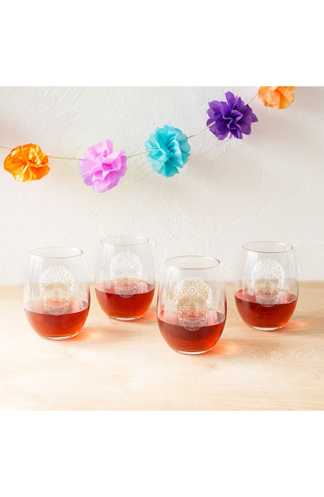 CATHY'S CONCEPTS, Sugar Skulls Set of 4 Stemless Wine Glasses, Alternate thumbnail 3, color, 100