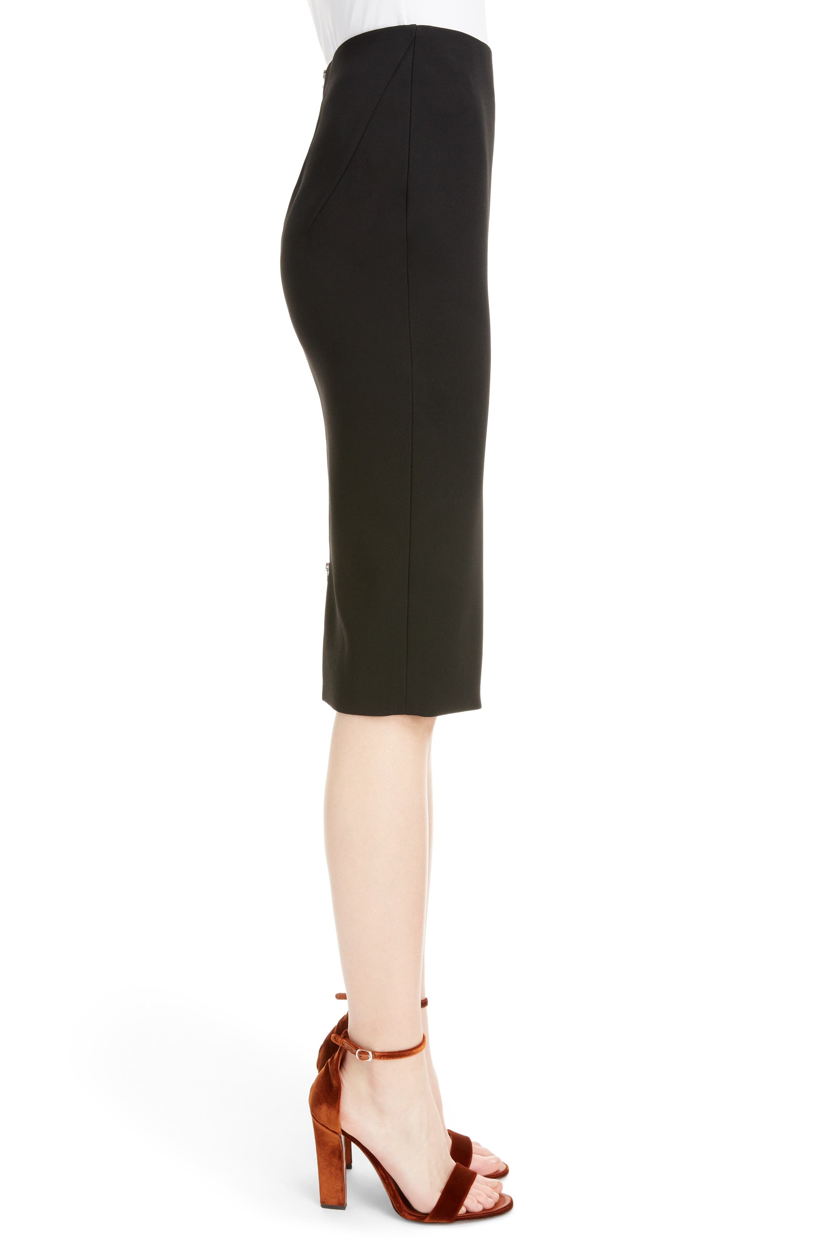 VICTORIA BECKHAM, Back Zip Pencil Skirt, Alternate thumbnail 3, color, BLACK