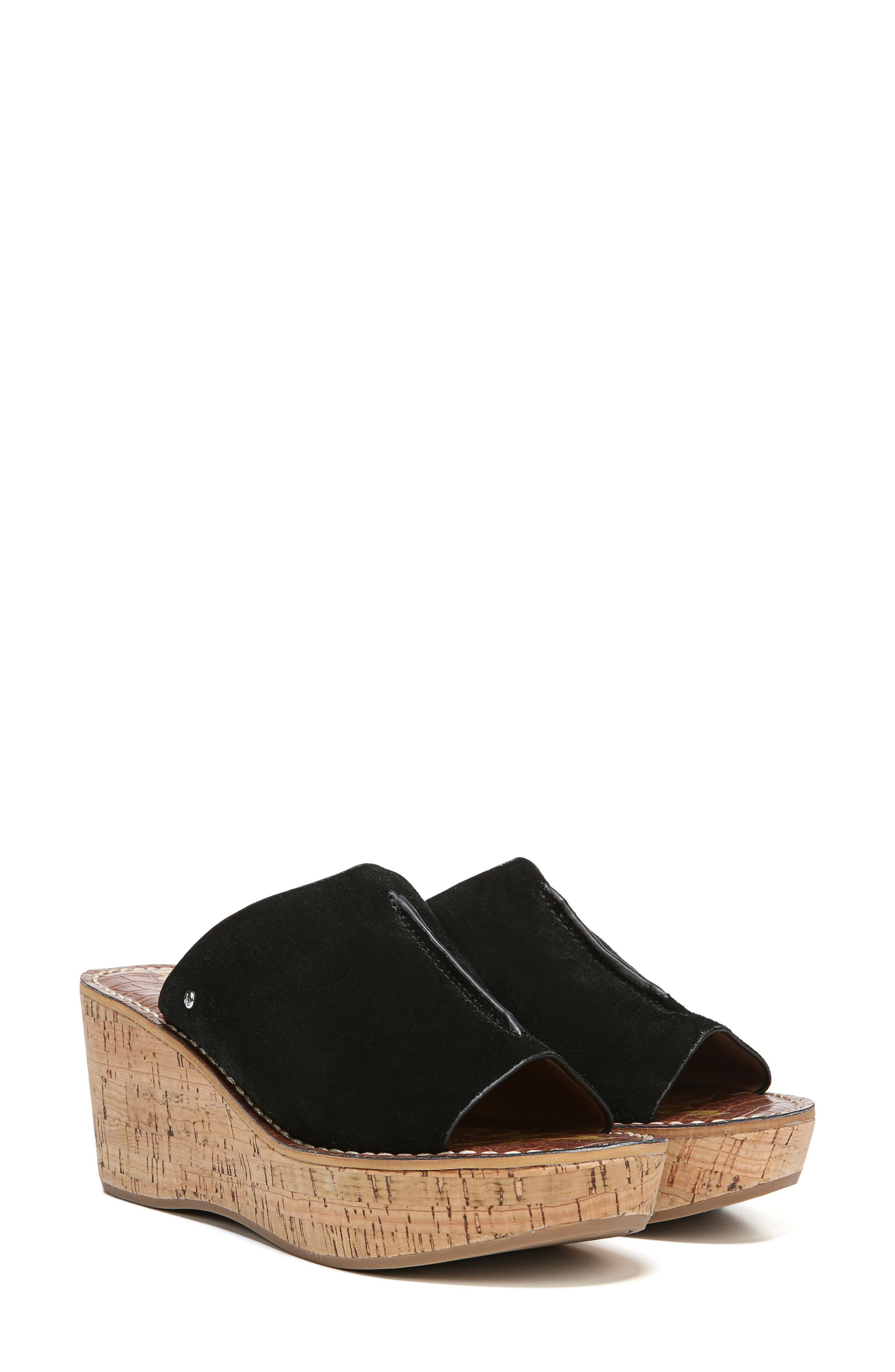 SAM EDELMAN, Ranger Platform Sandal, Alternate thumbnail 7, color, BLACK SUEDE