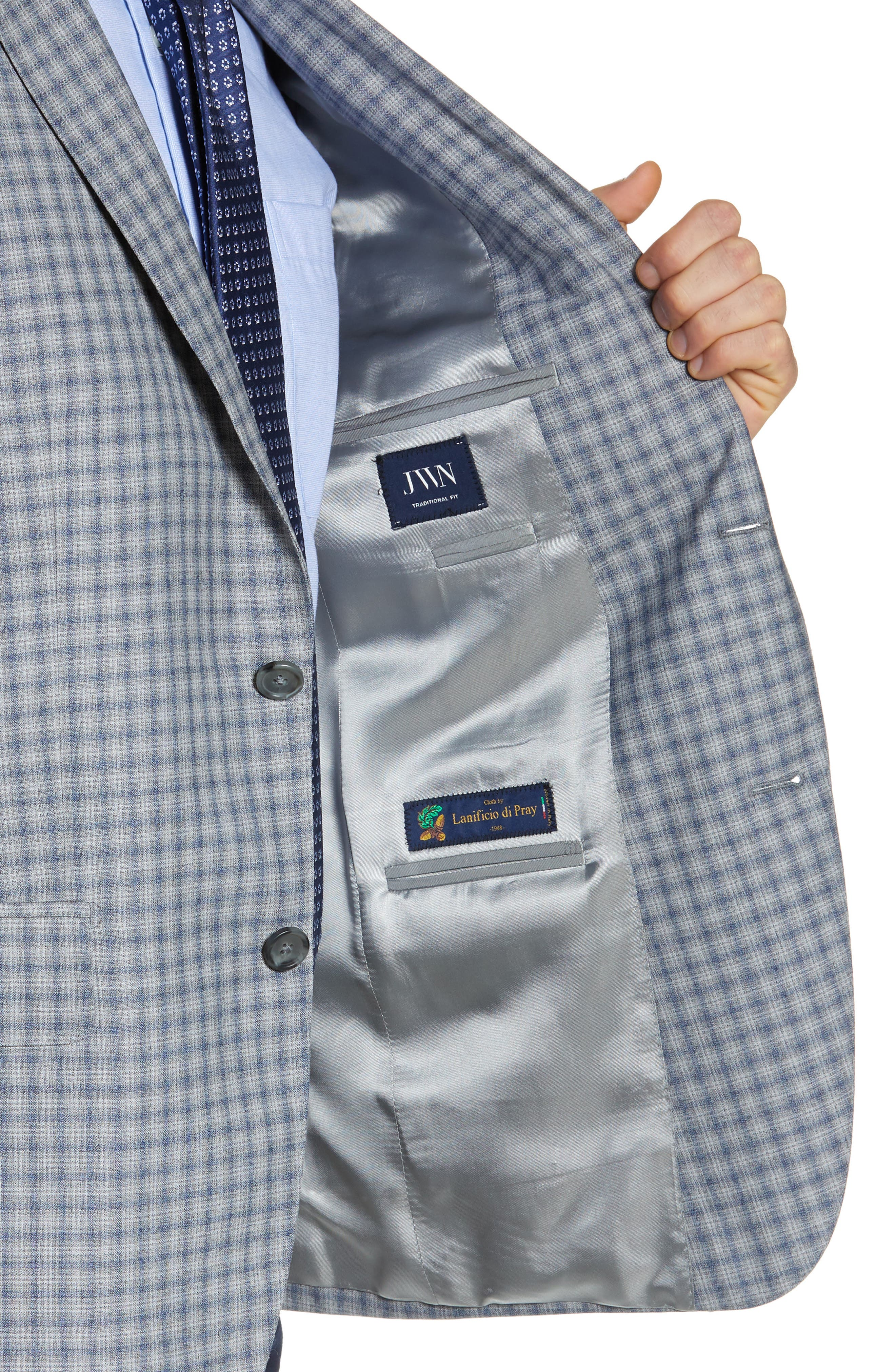 JOHN W. NORDSTROM<SUP>®</SUP>, Traditional Fit Plaid Wool Sport Coat, Alternate thumbnail 4, color, GREY FILIGREE BLUE CHECK