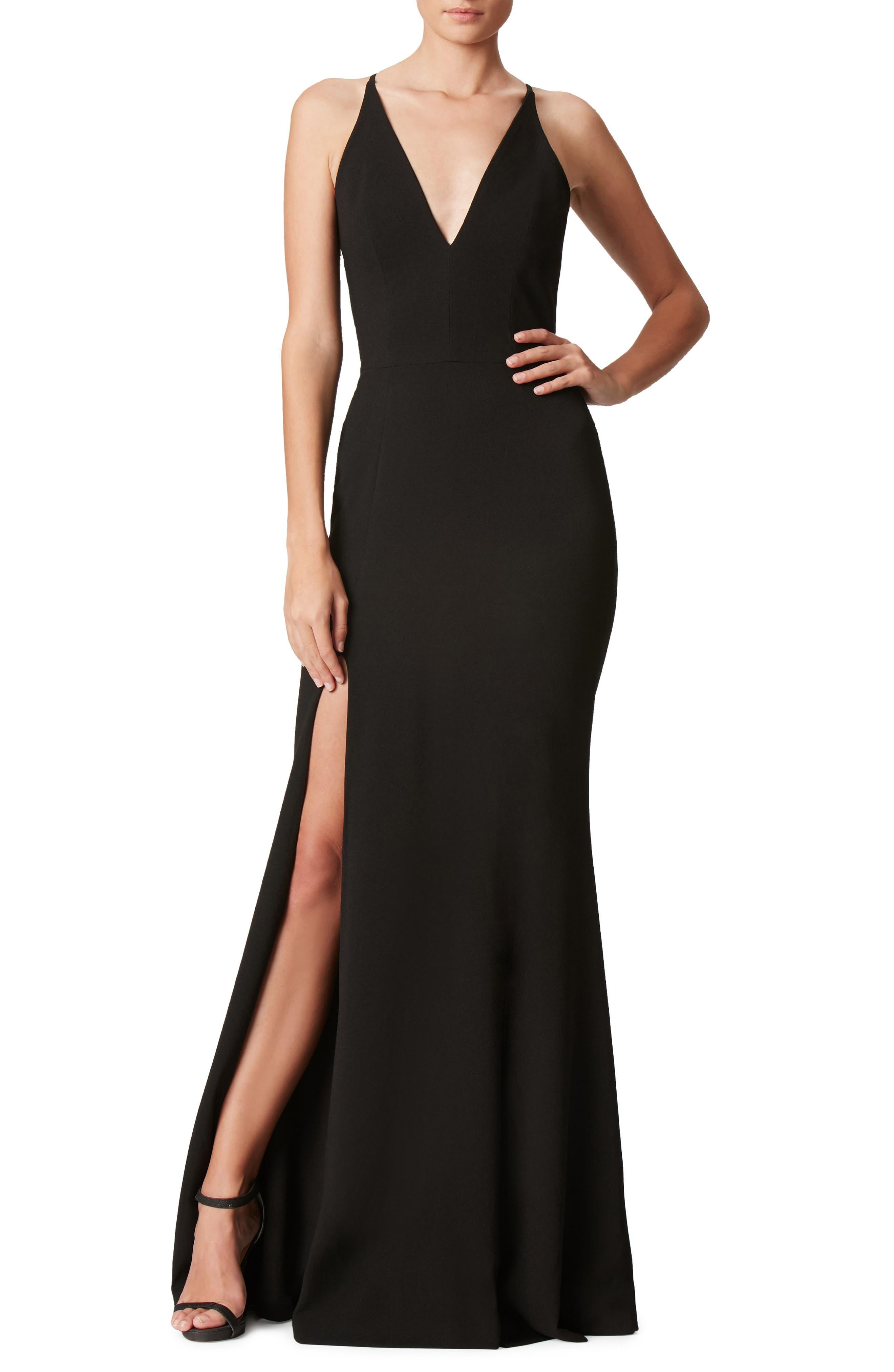 DRESS THE POPULATION, Iris Slit Crepe Gown, Main thumbnail 1, color, BLACK