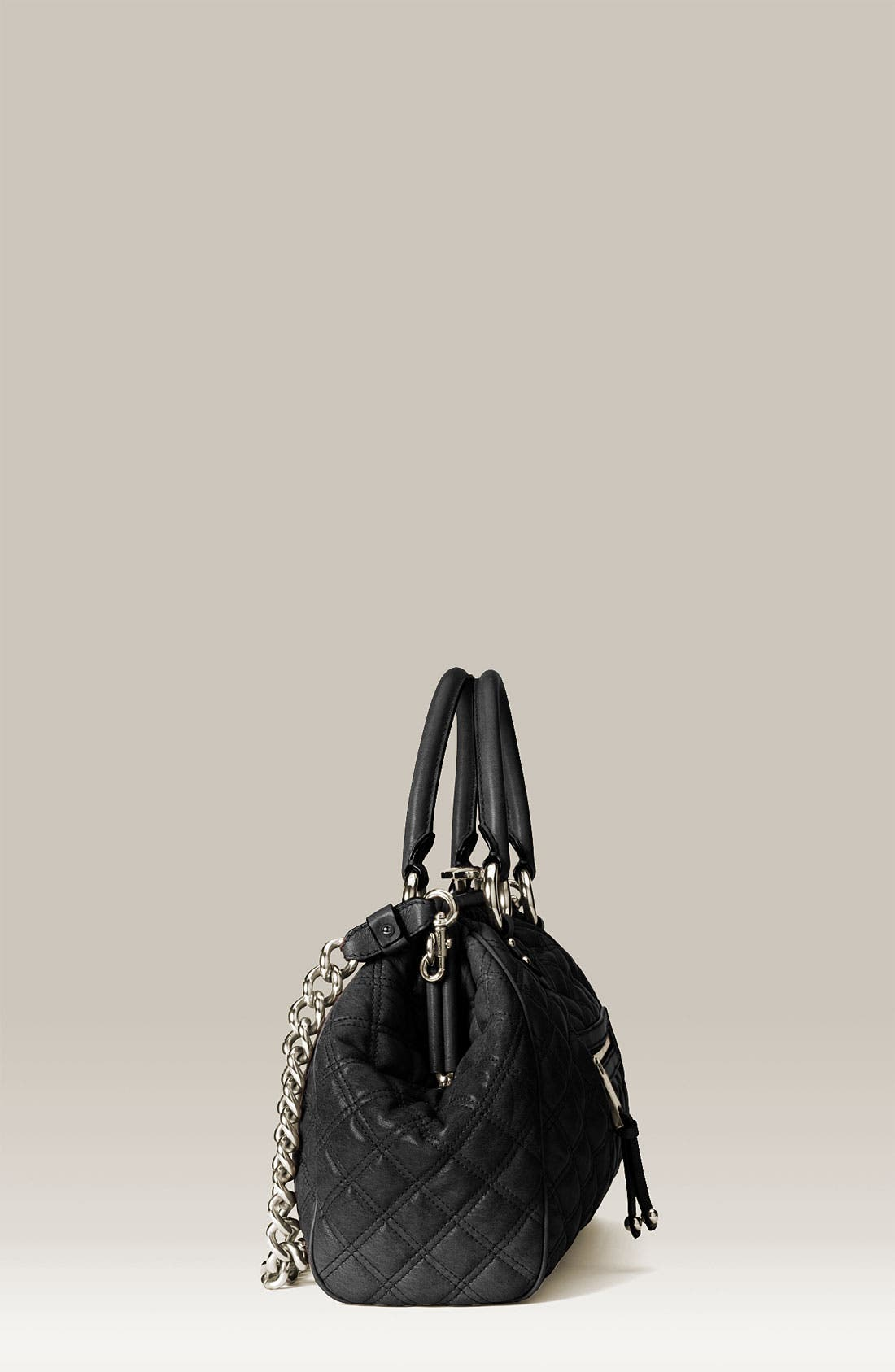 MARC JACOBS, 'Stam' Quilted Frame Satchel, Alternate thumbnail 2, color, 001