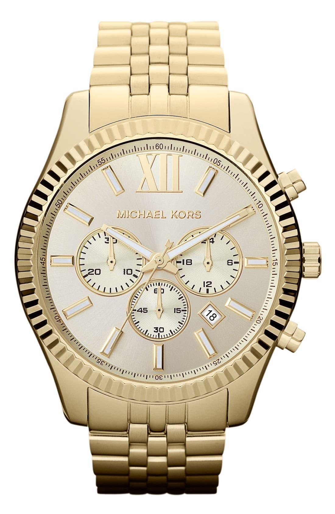 MICHAEL KORS, 'Large Lexington' Chronograph Bracelet Watch, 45mm, Main thumbnail 1, color, 710