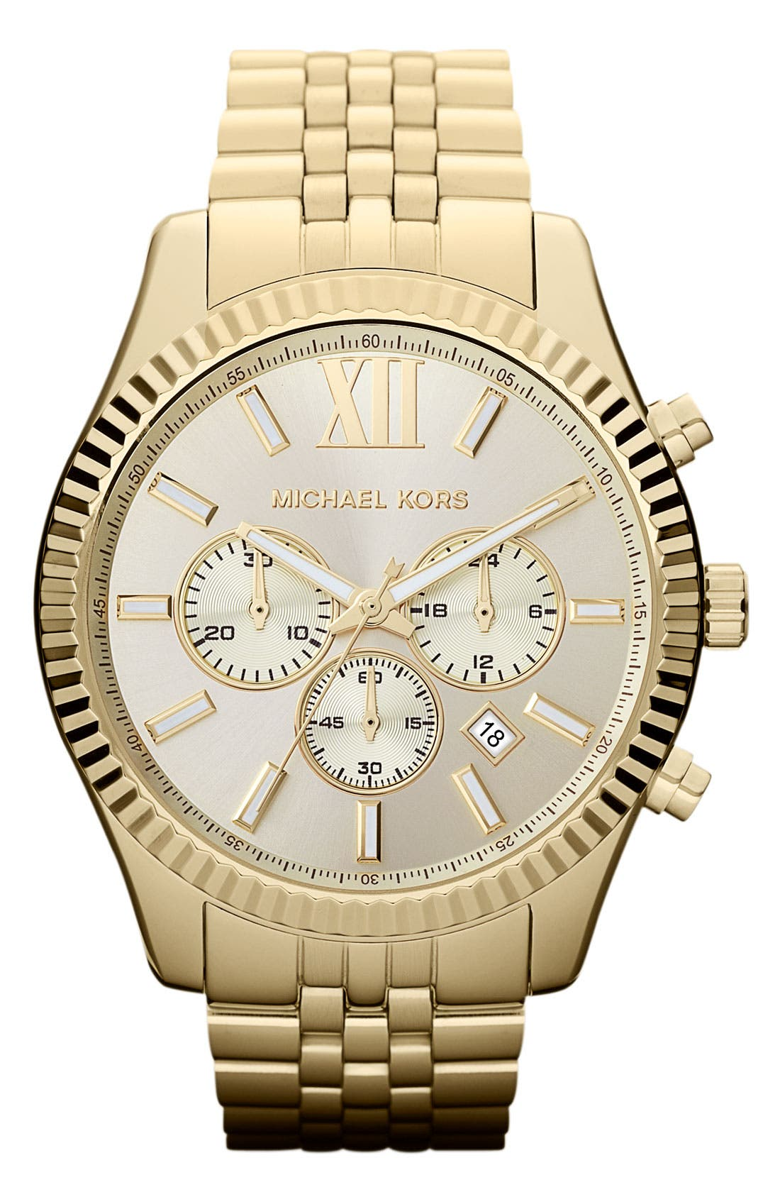 MICHAEL KORS 'Large Lexington' Chronograph Bracelet Watch, 45mm, Main, color, 710
