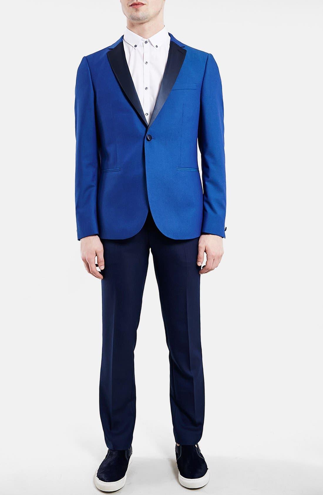 TOPMAN, Blue Skinny Fit Tuxedo Jacket, Alternate thumbnail 2, color, 400