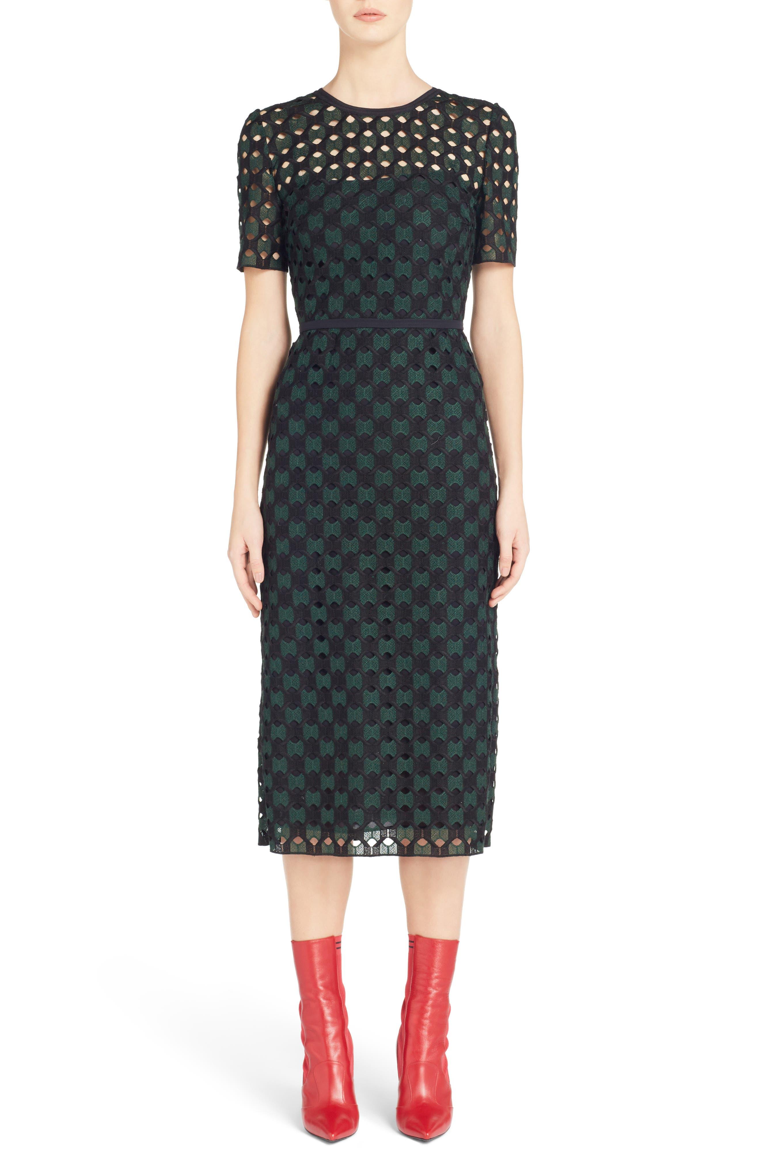 Fendi Geometric Lace Sheath Dress, US / 46 IT - Black