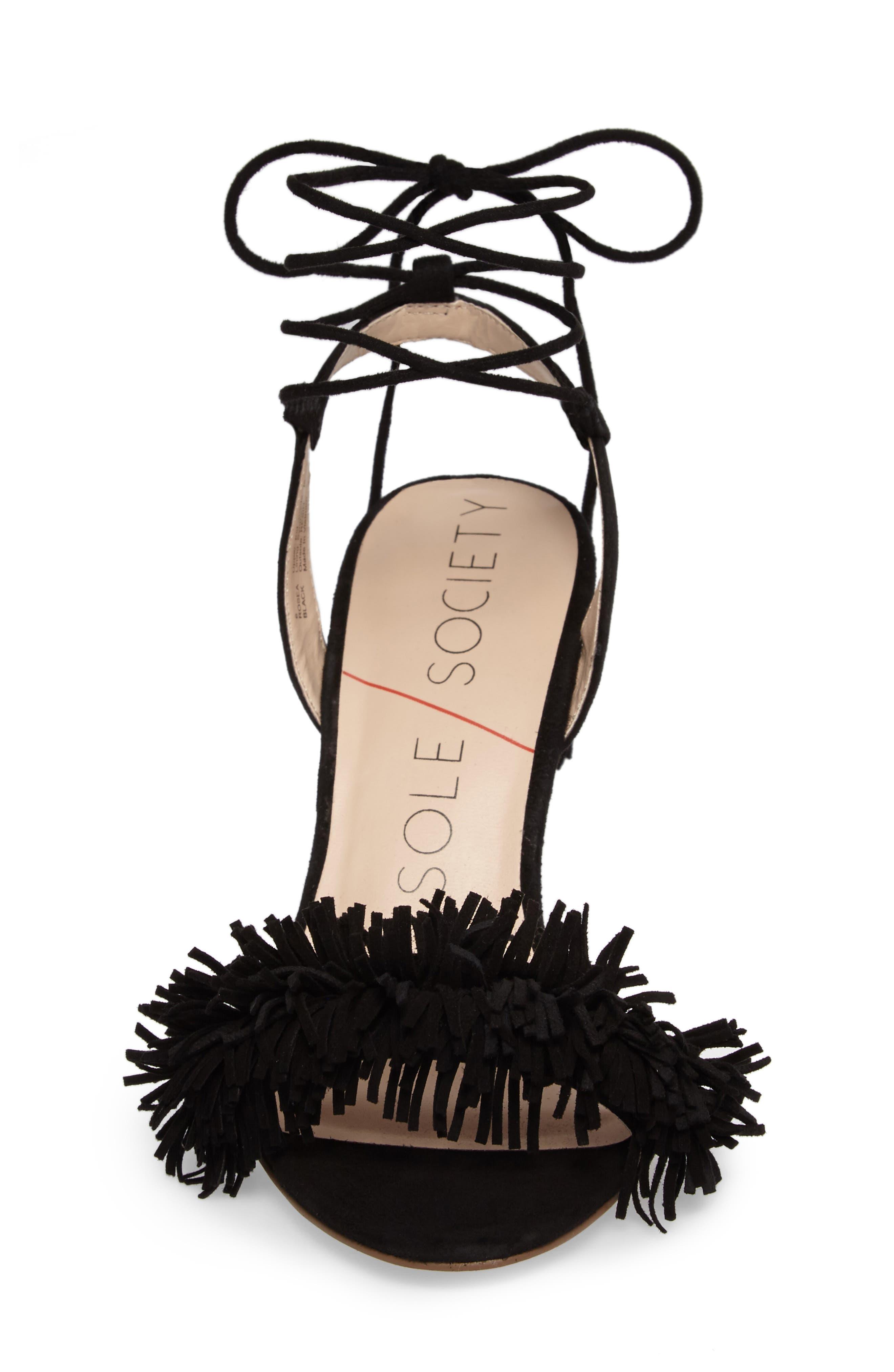 SOLE SOCIETY, Rosea Ankle Wrap Sandal, Alternate thumbnail 4, color, 001