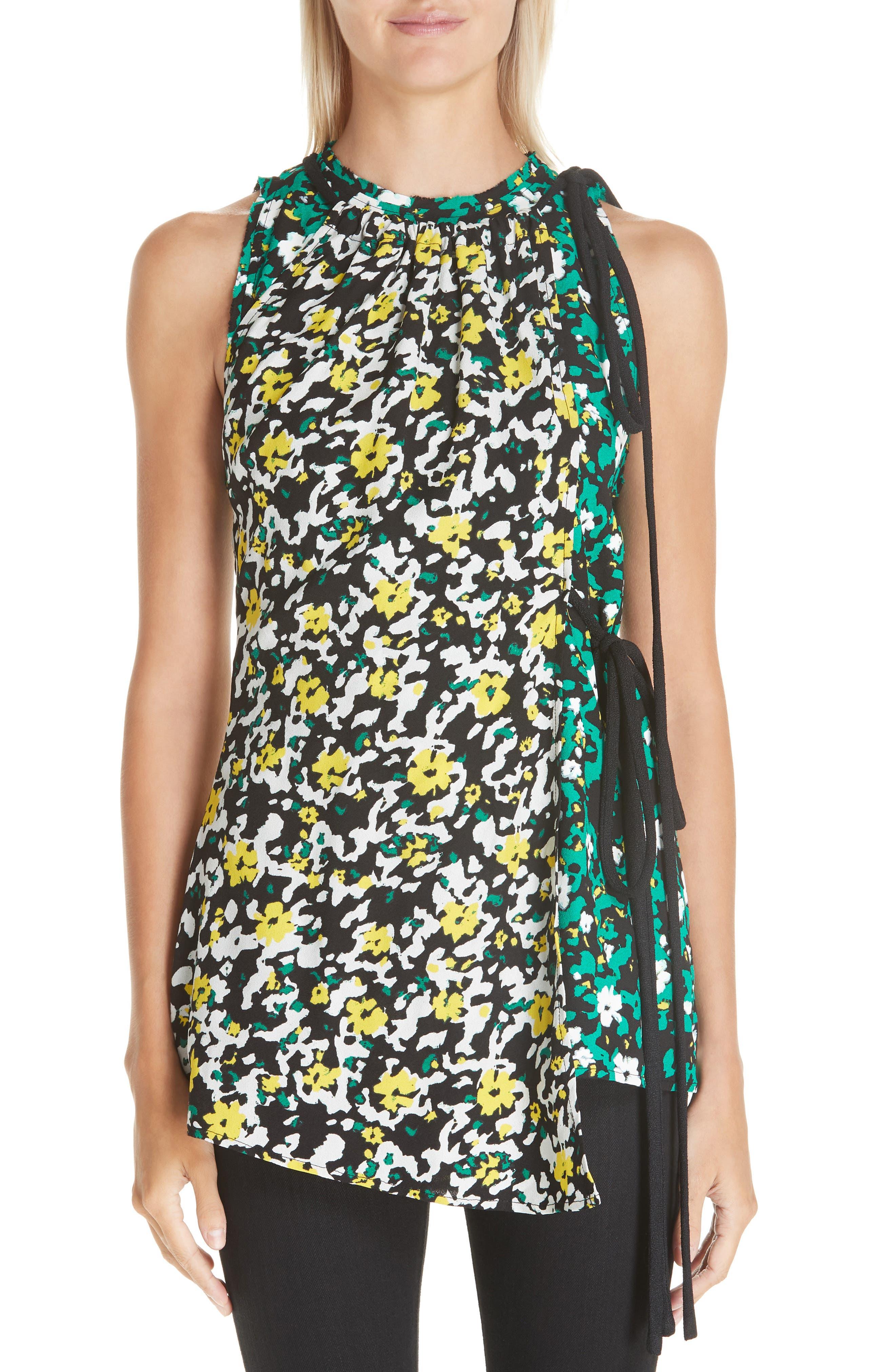 PROENZA SCHOULER, Side Tie Floral Print Blouse, Main thumbnail 1, color, WHITE WILDFLOWER