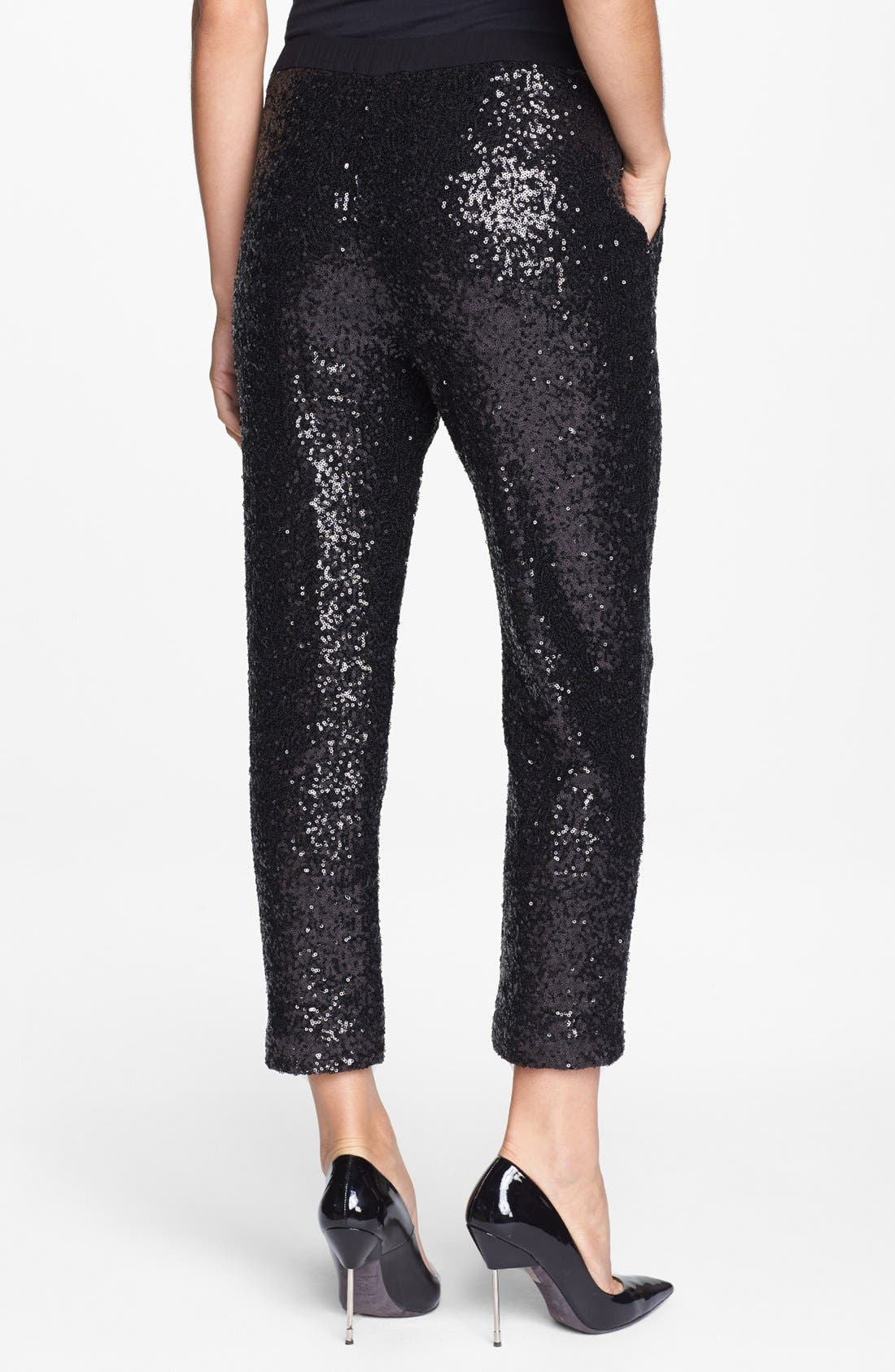 ELLA MOSS, Sequin Slouchy Trousers, Alternate thumbnail 5, color, 001
