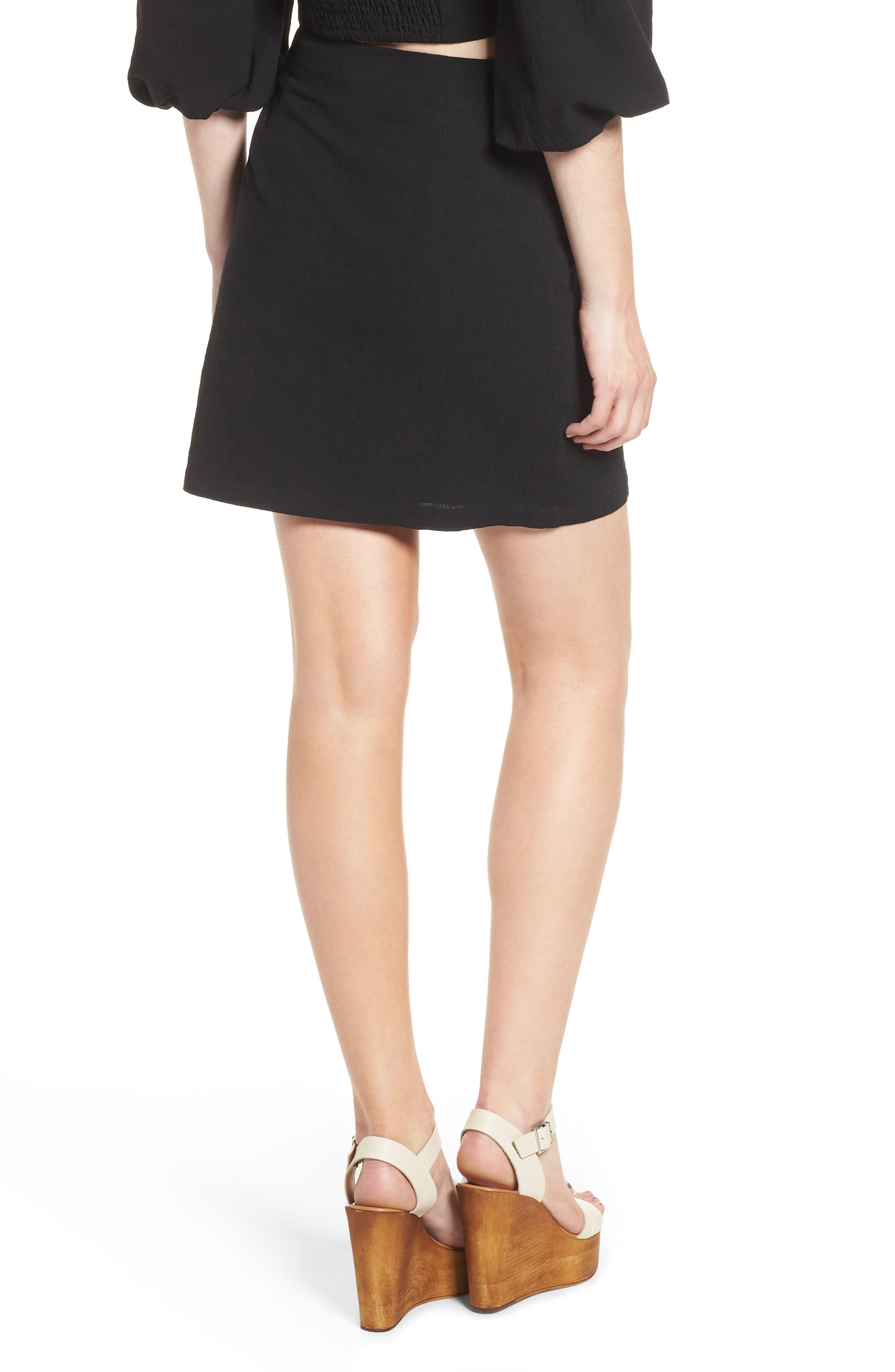 J.O.A., Button Front Miniskirt, Alternate thumbnail 2, color, 001