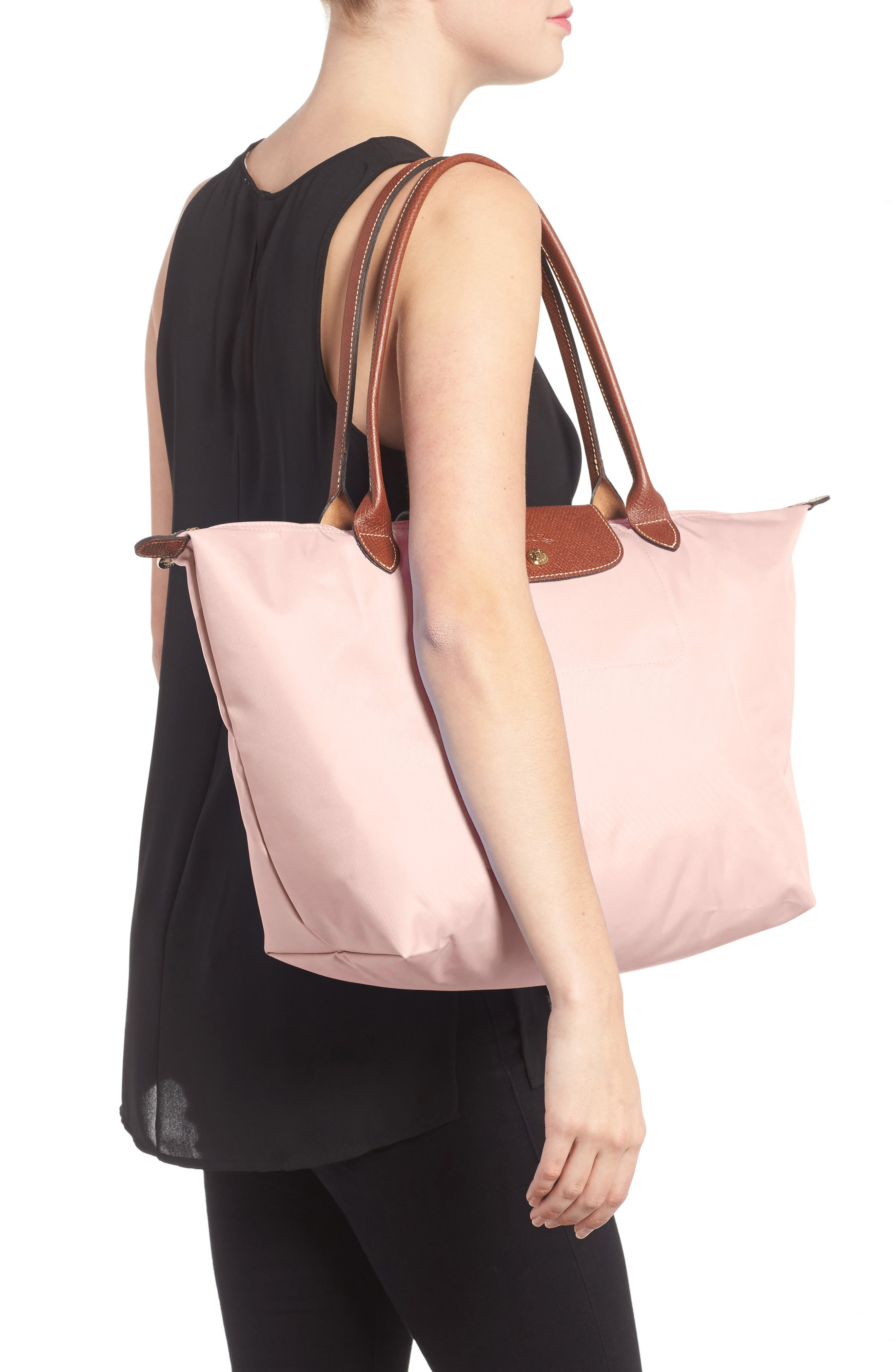 LONGCHAMP, Large Le Pliage Tote, Alternate thumbnail 2, color, PINK ICE