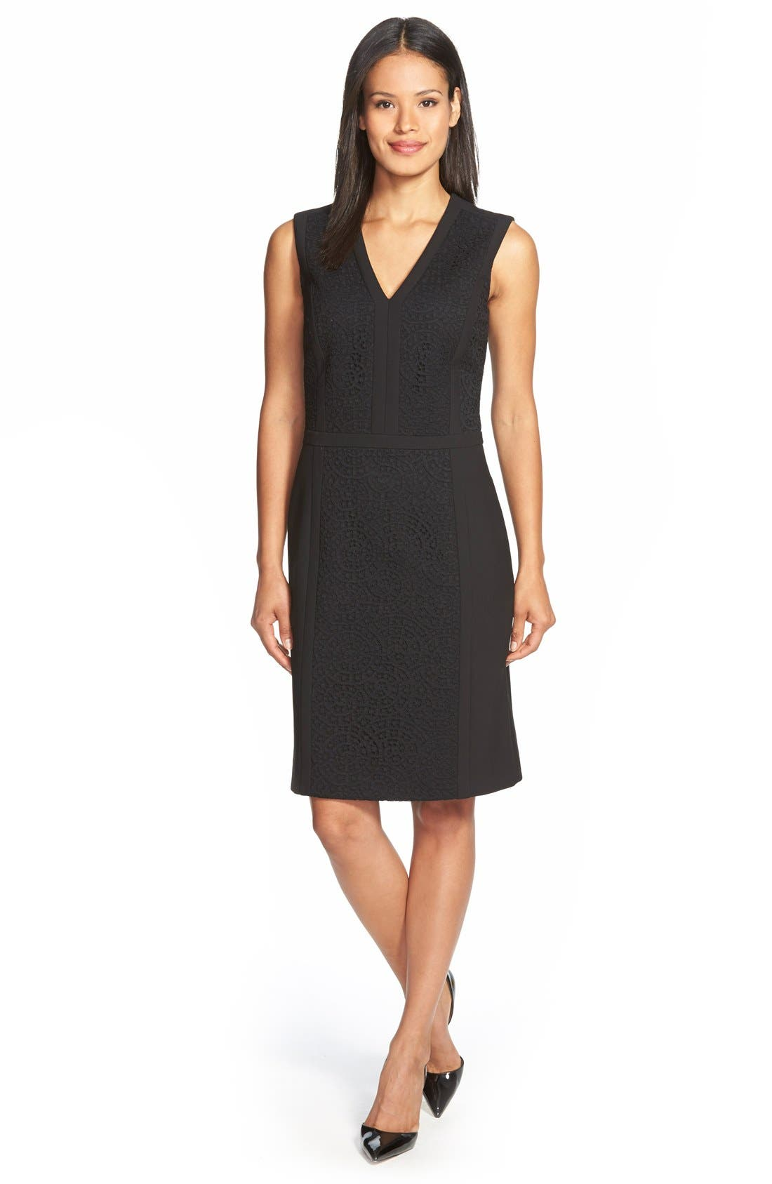 BOSS, 'Dilama' Paneled Mixed Media V-Neck Sheath Dress, Main thumbnail 1, color, 002