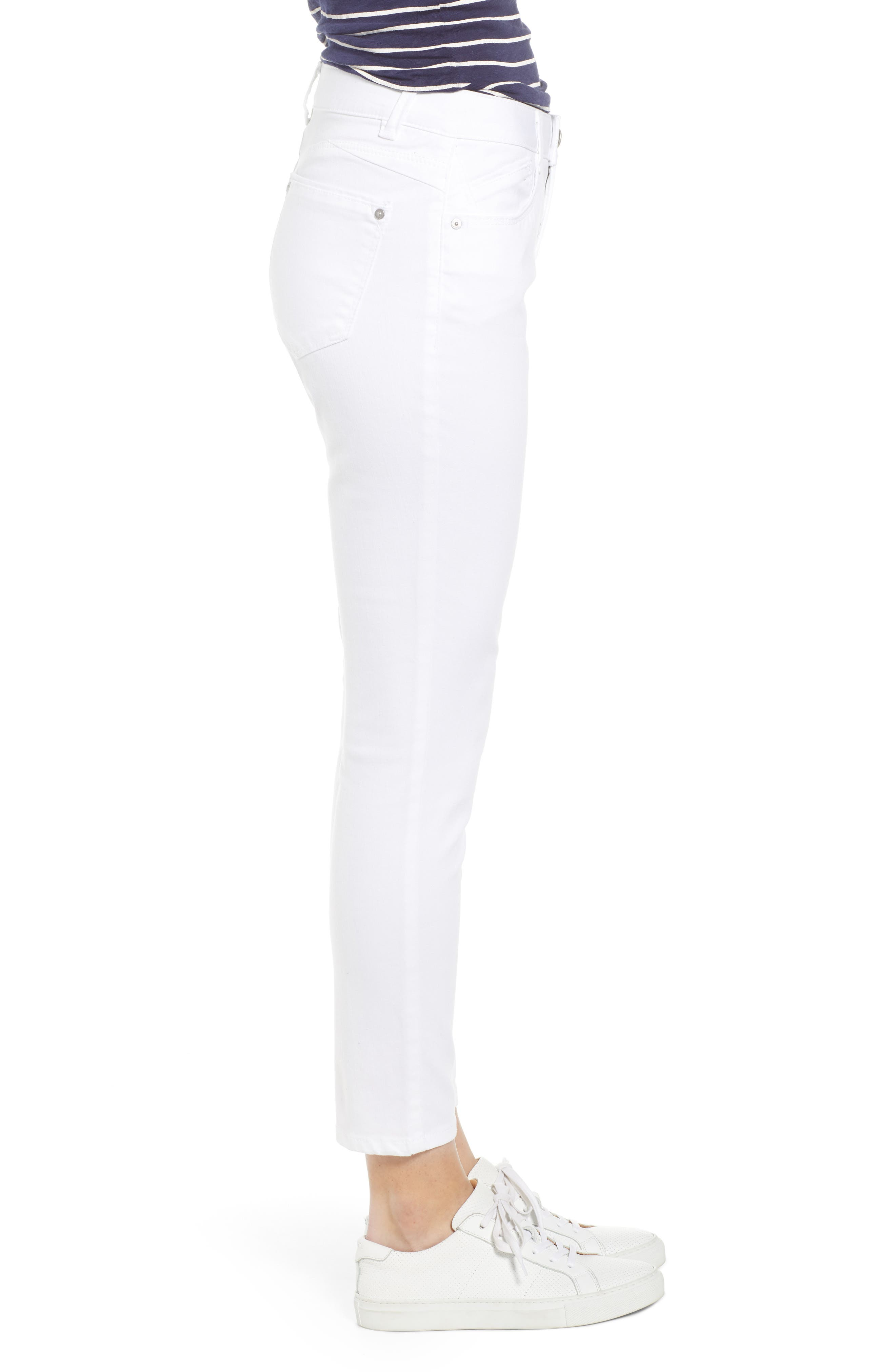 WIT & WISDOM, Ab-Solution High Waist Ankle Skinny Jeans, Alternate thumbnail 4, color, OPTIC WHITE