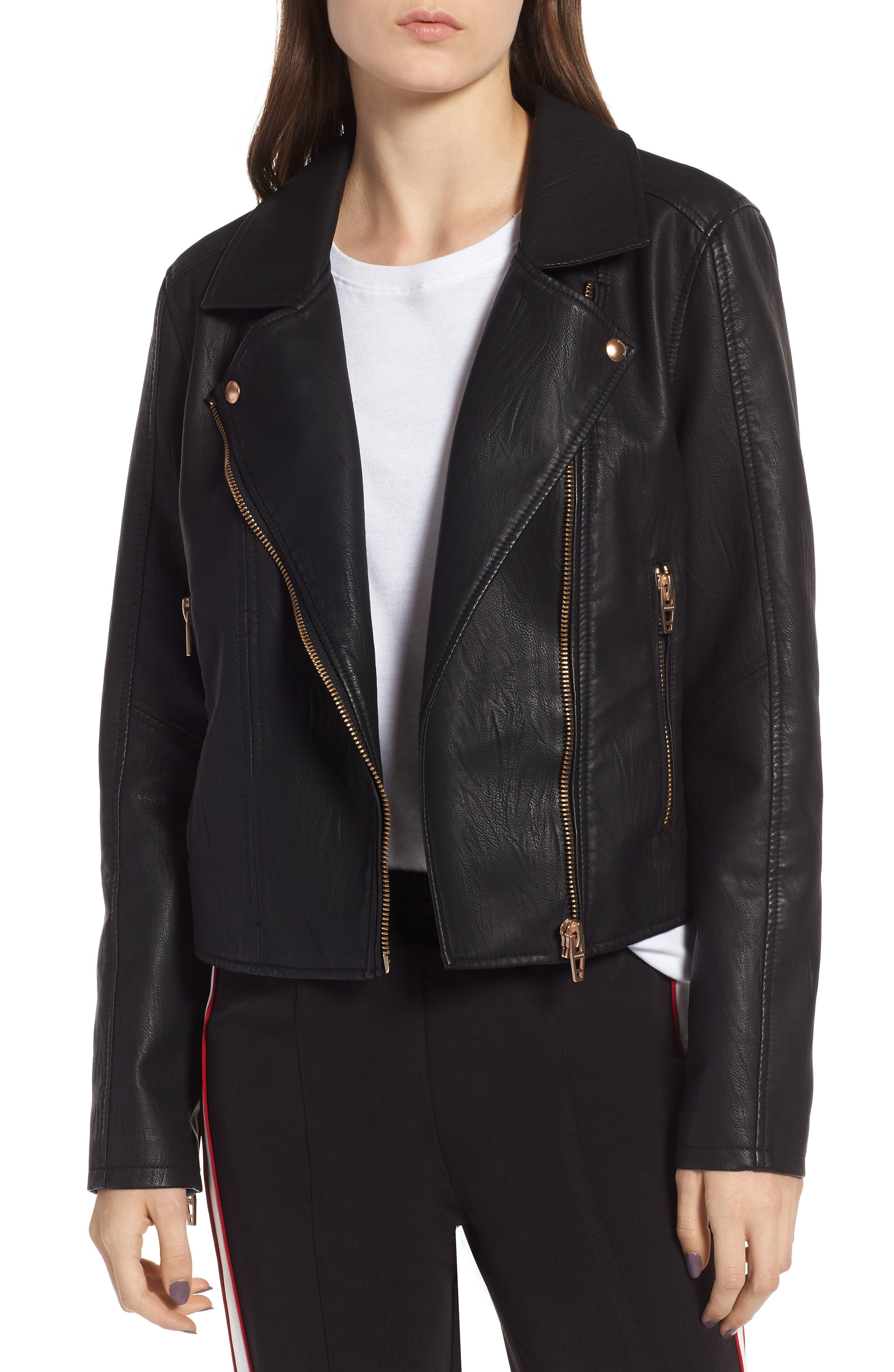 BLANKNYC, Meant to Be Moto Jacket with Removable Hood, Alternate thumbnail 5, color, BLACK