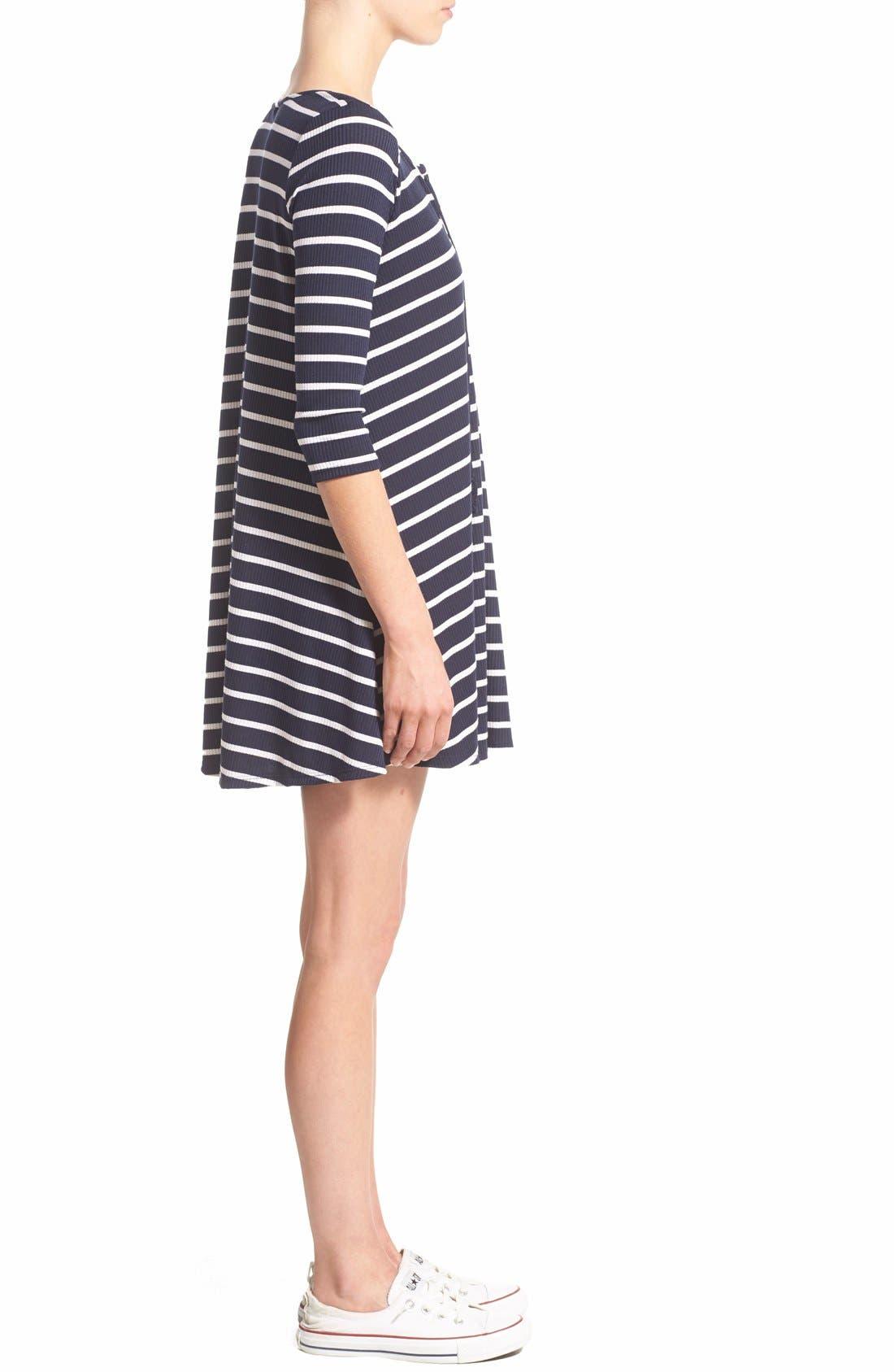 SOCIALITE, Stripe Lace-Up Minidress, Alternate thumbnail 2, color, 466
