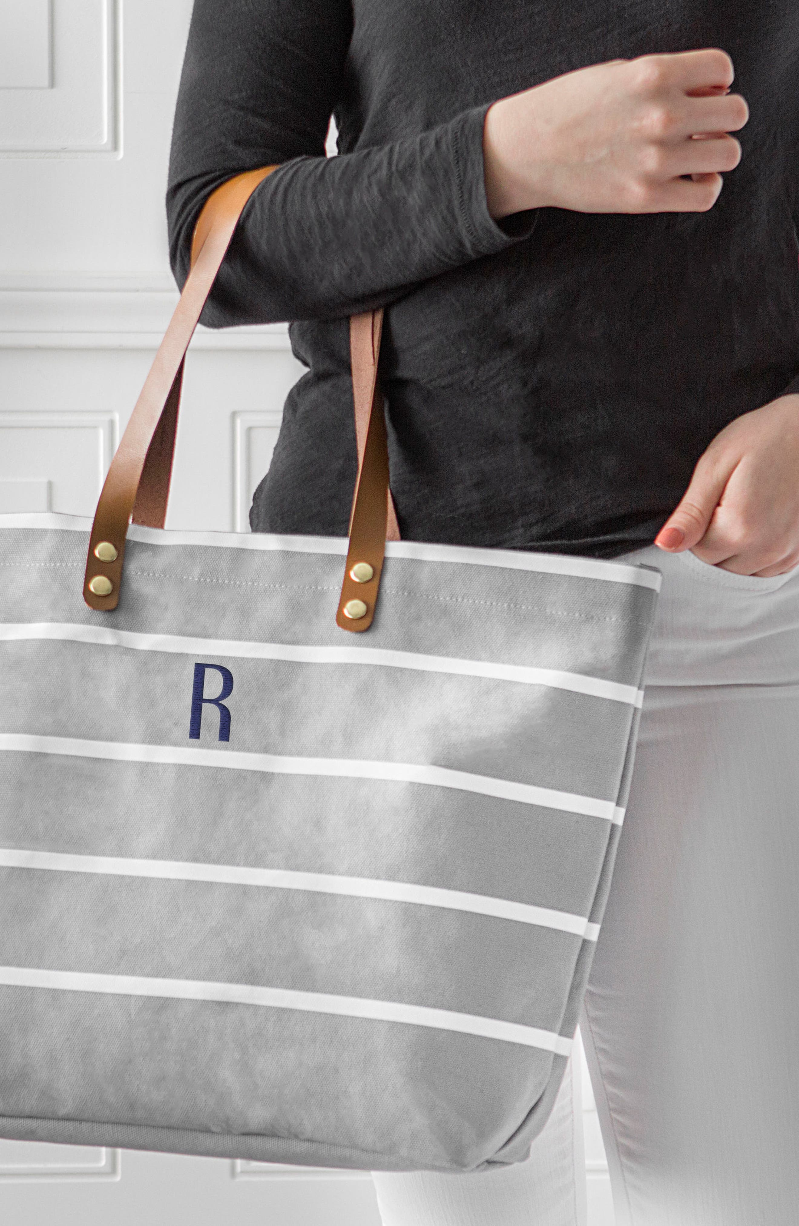 CATHY'S CONCEPTS, Monogram Large Canvas Tote, Alternate thumbnail 6, color, GREY